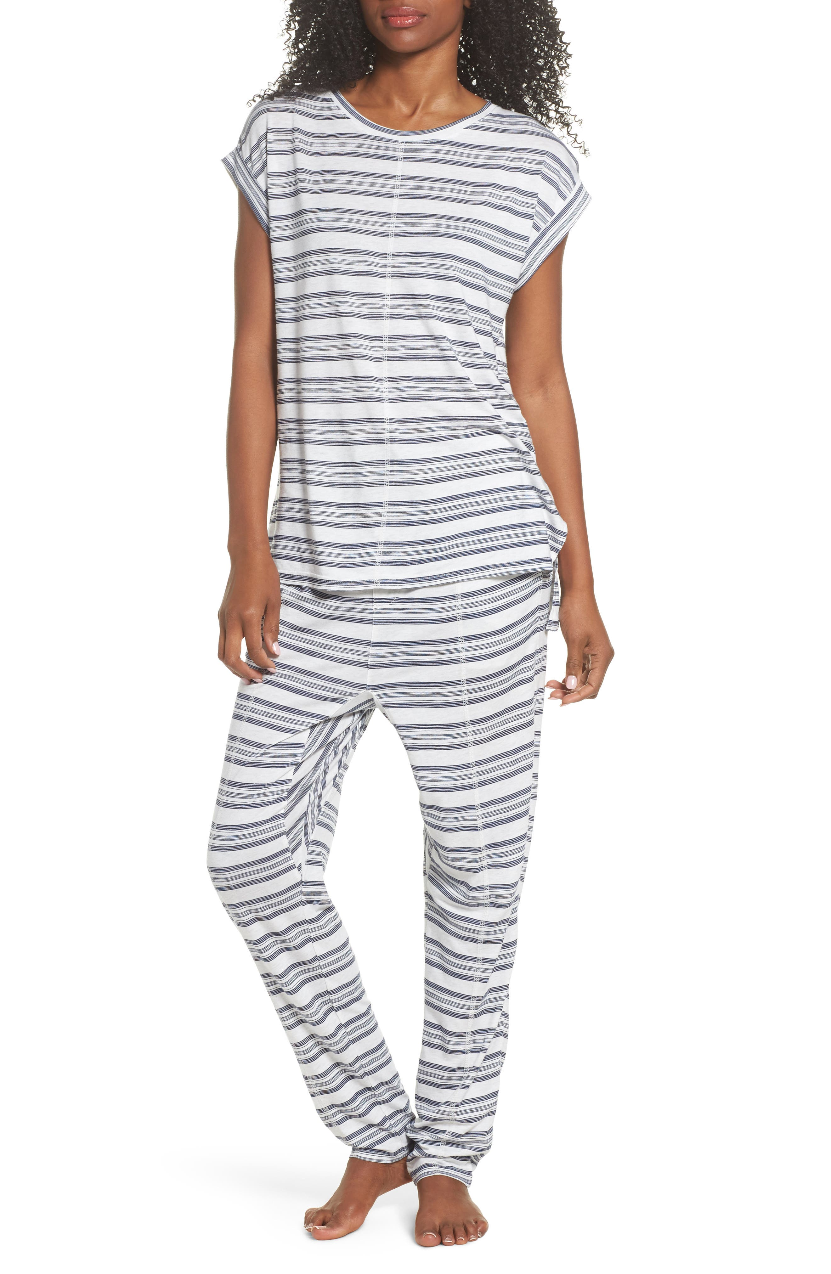 Alice Lounge Pants,                             Alternate thumbnail 5, color,                             Snow Marle Stripe