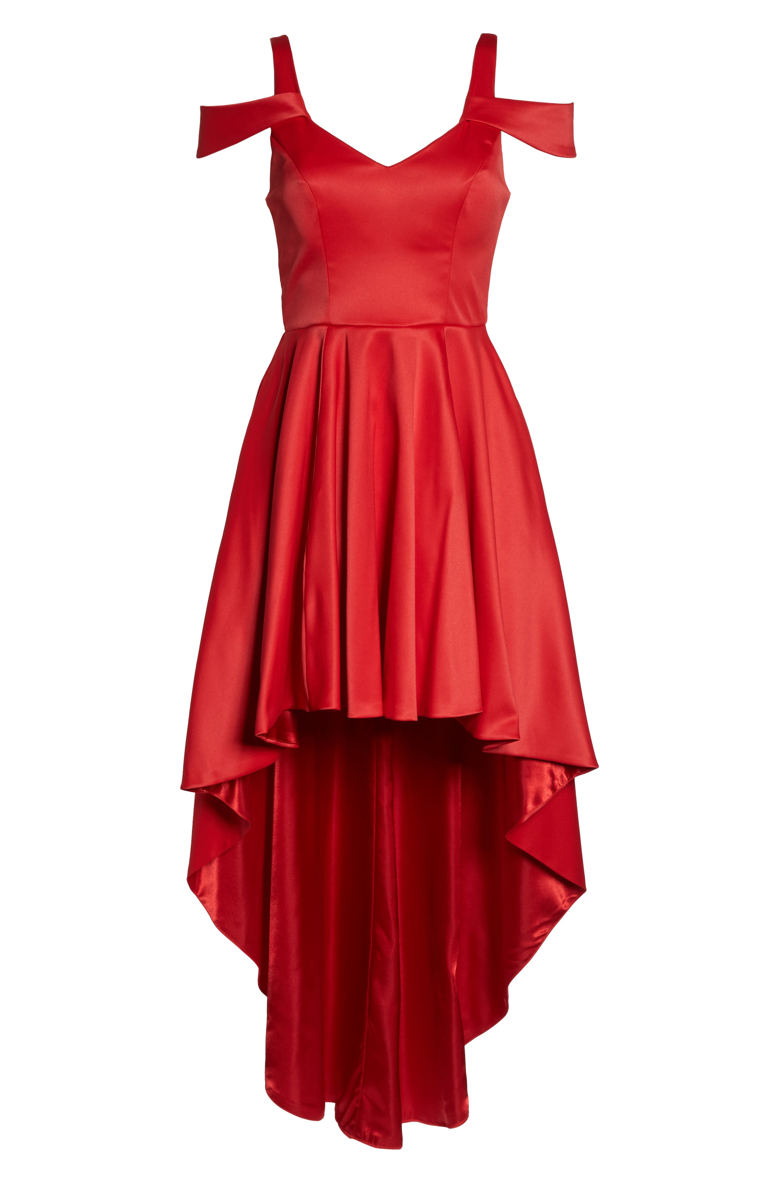 Cold Shoulder High/Low Gown,                             Alternate thumbnail 6, color,                             Red