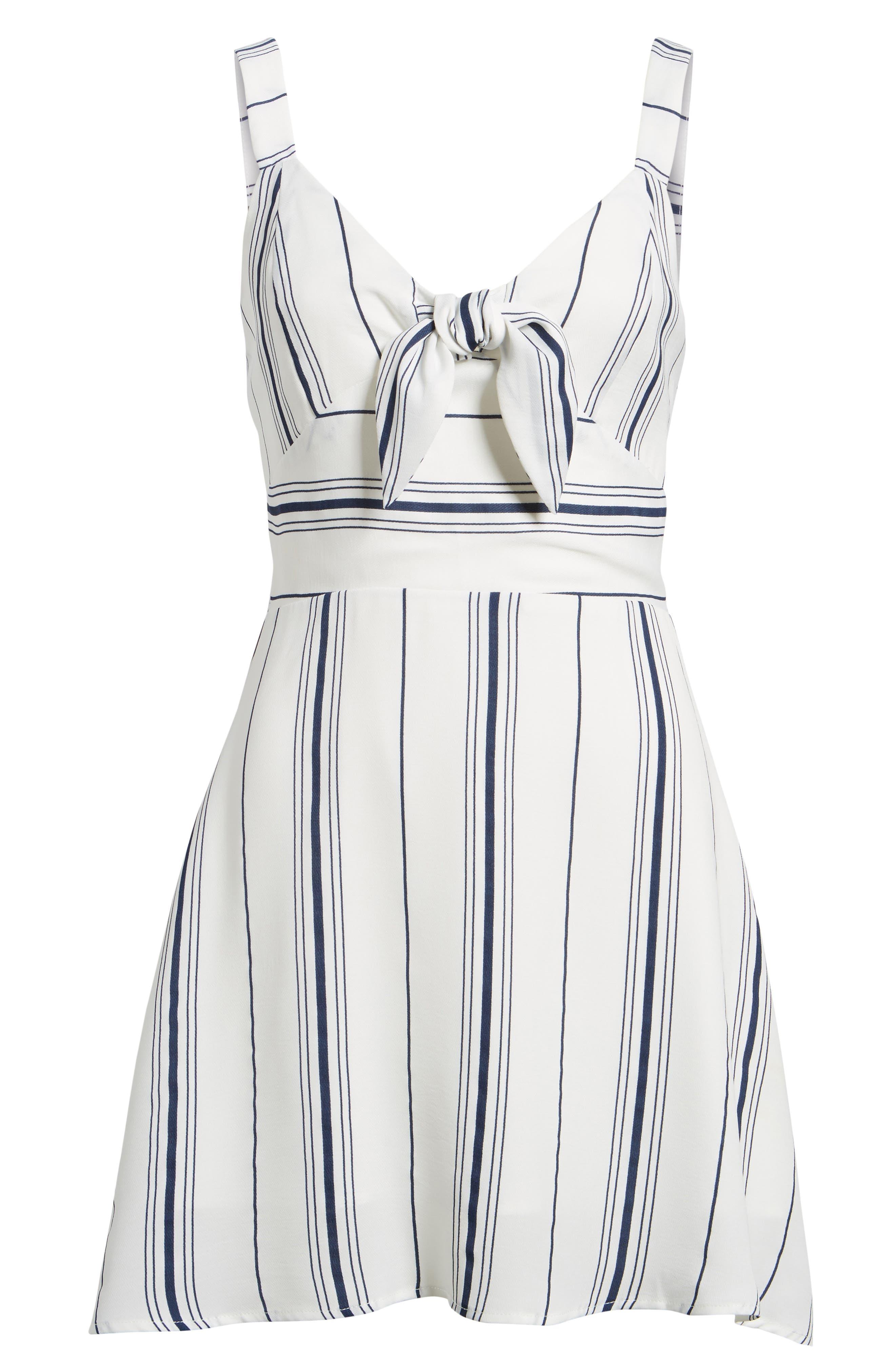 Tie Front Minidress,                             Alternate thumbnail 7, color,                             White/ Navy