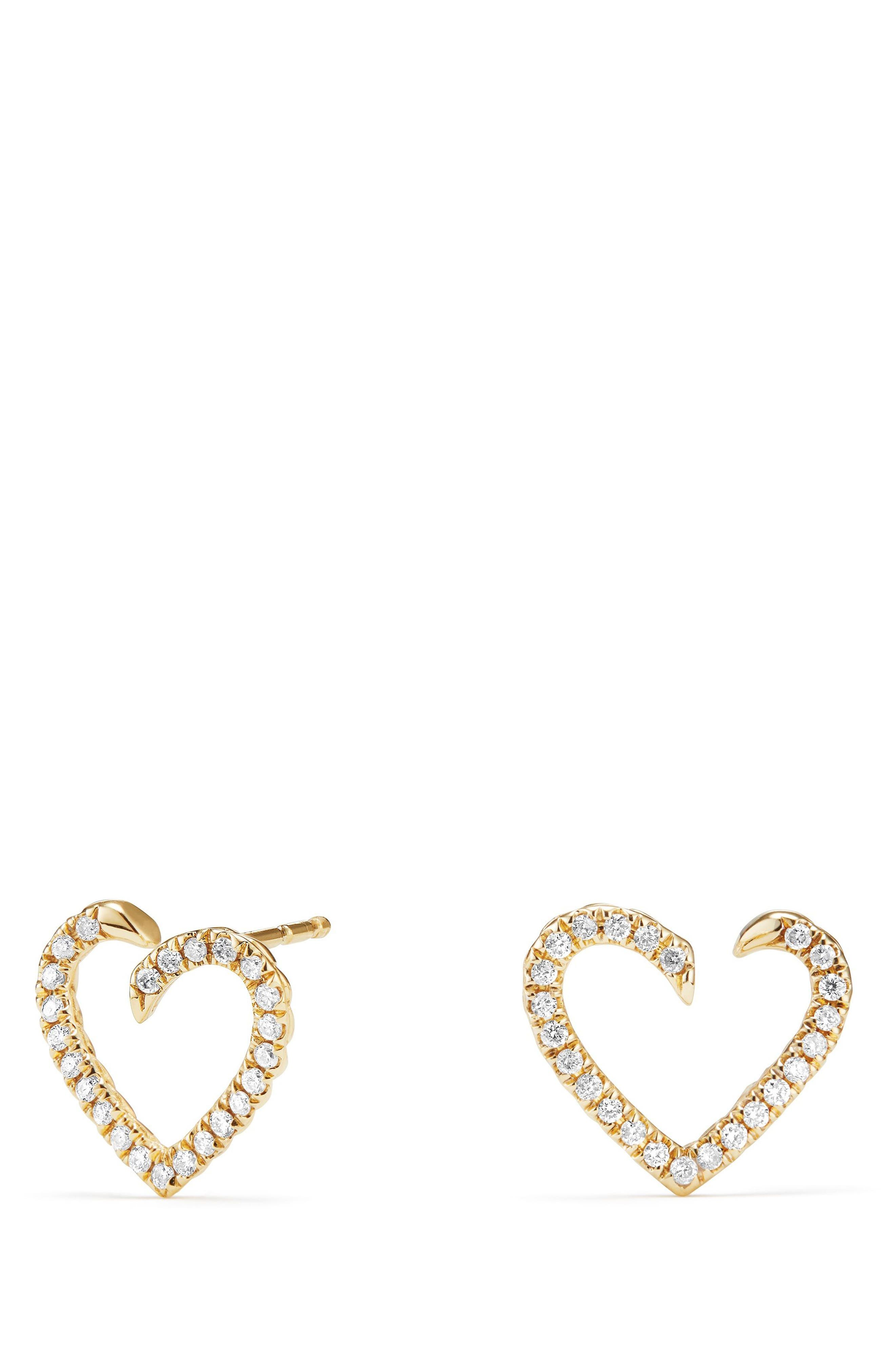 Heart Wrap Earrings with Diamonds in 18K Gold,                             Main thumbnail 1, color,                             Gold/ Diamond