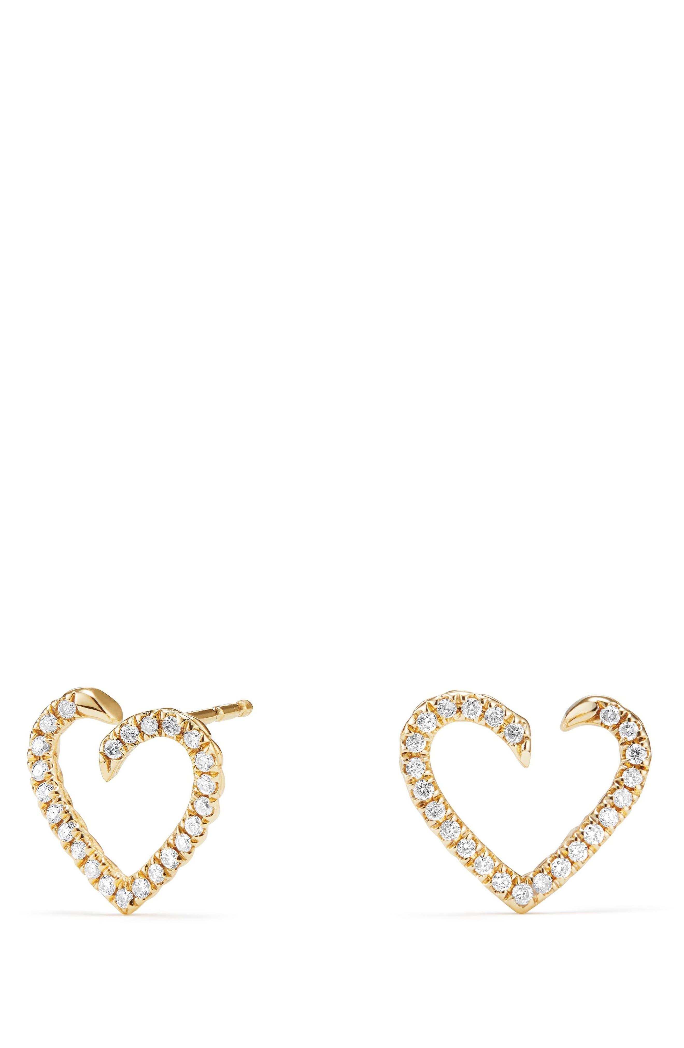 Main Image - David Yurman Heart Wrap Earrings with Diamonds in 18K Gold