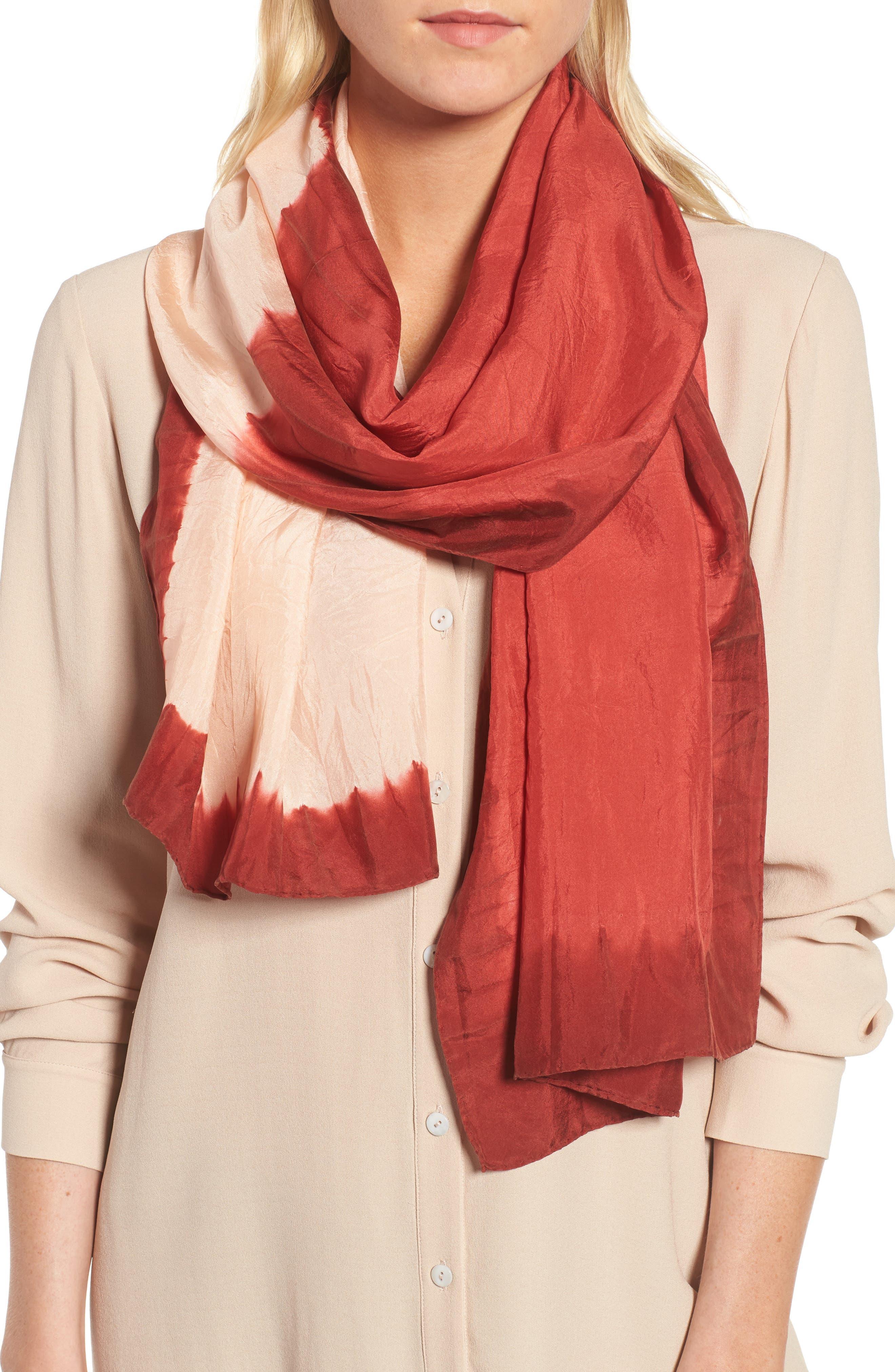 Silk Scarf,                         Main,                         color, Coral Rose