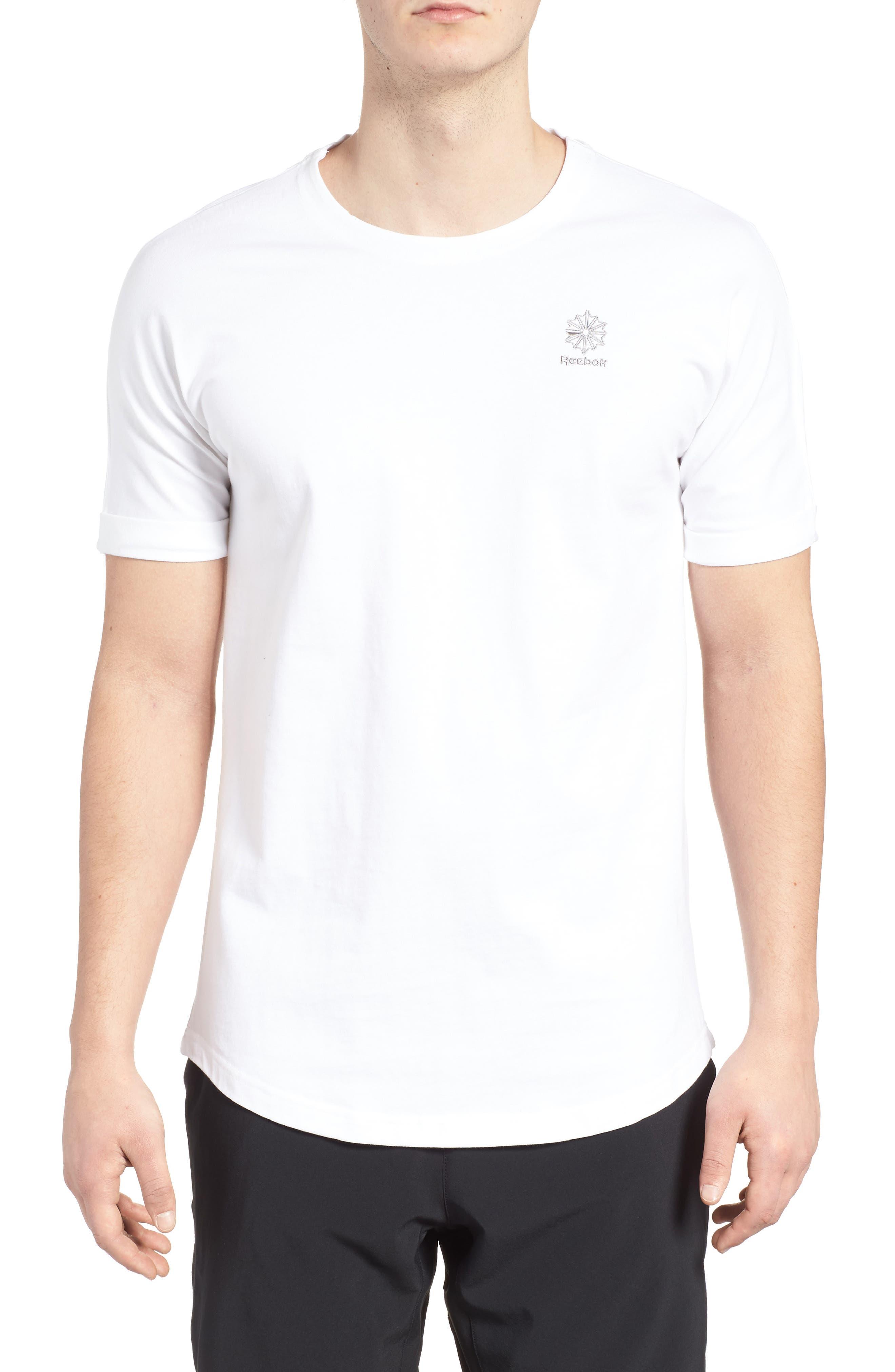 Extended Regular Crewneck T-Shirt,                             Main thumbnail 1, color,                             White