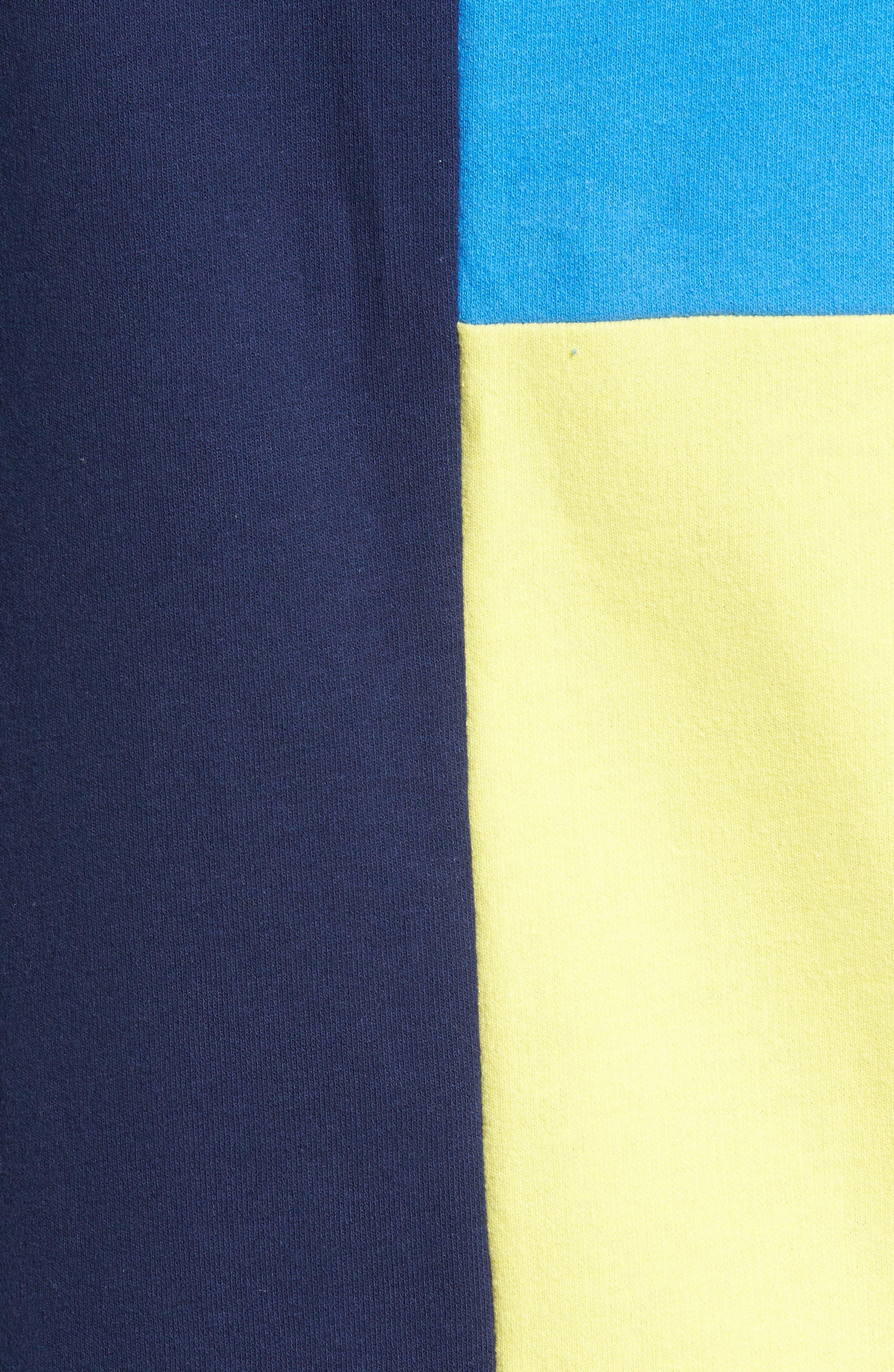 Colorblock Hoodie Sweatshirt,                             Alternate thumbnail 5, color,                             Navy Blue Yellow Block