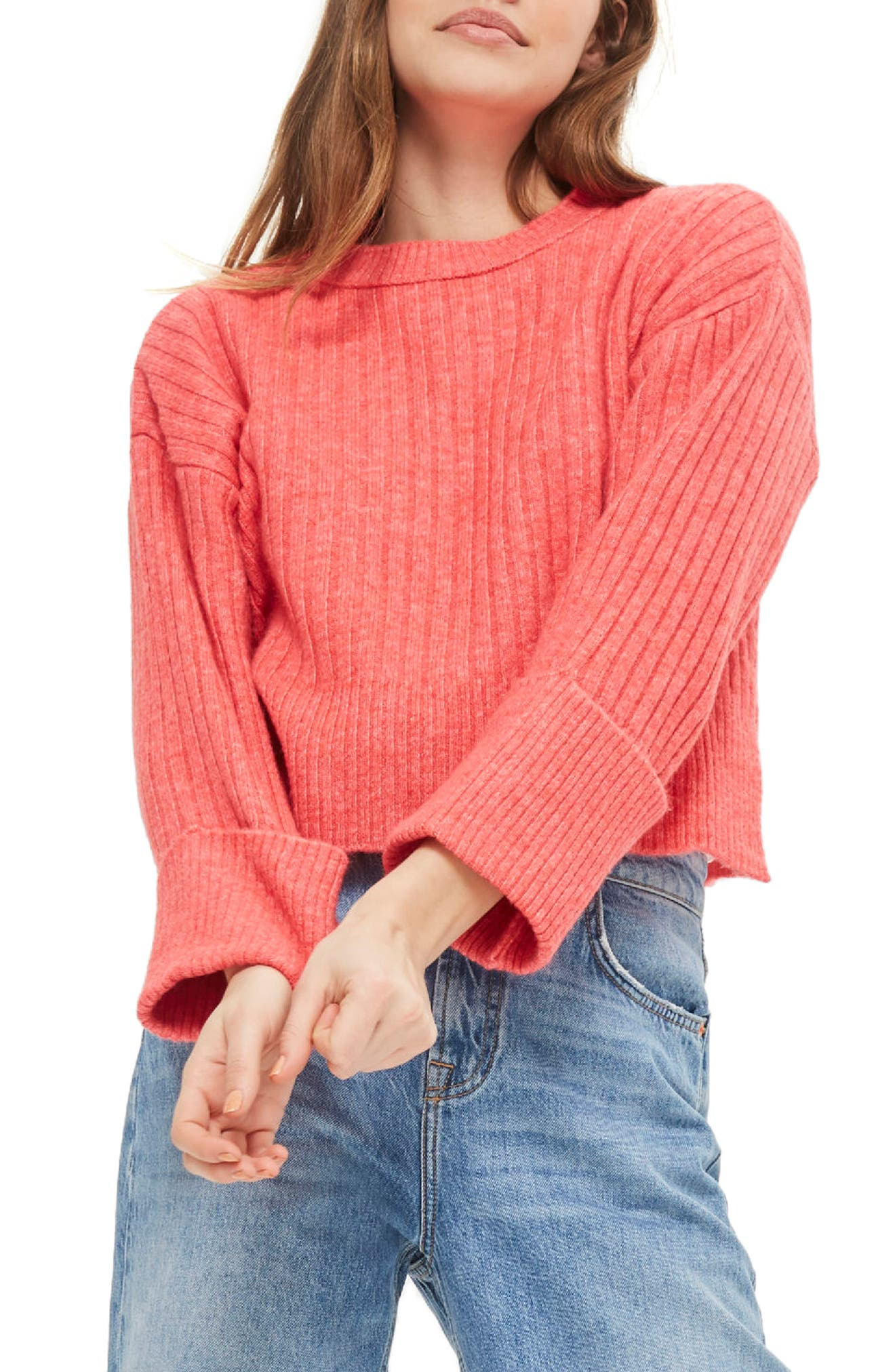 Rib Knit Crop Sweater,                         Main,                         color, Bright Pink