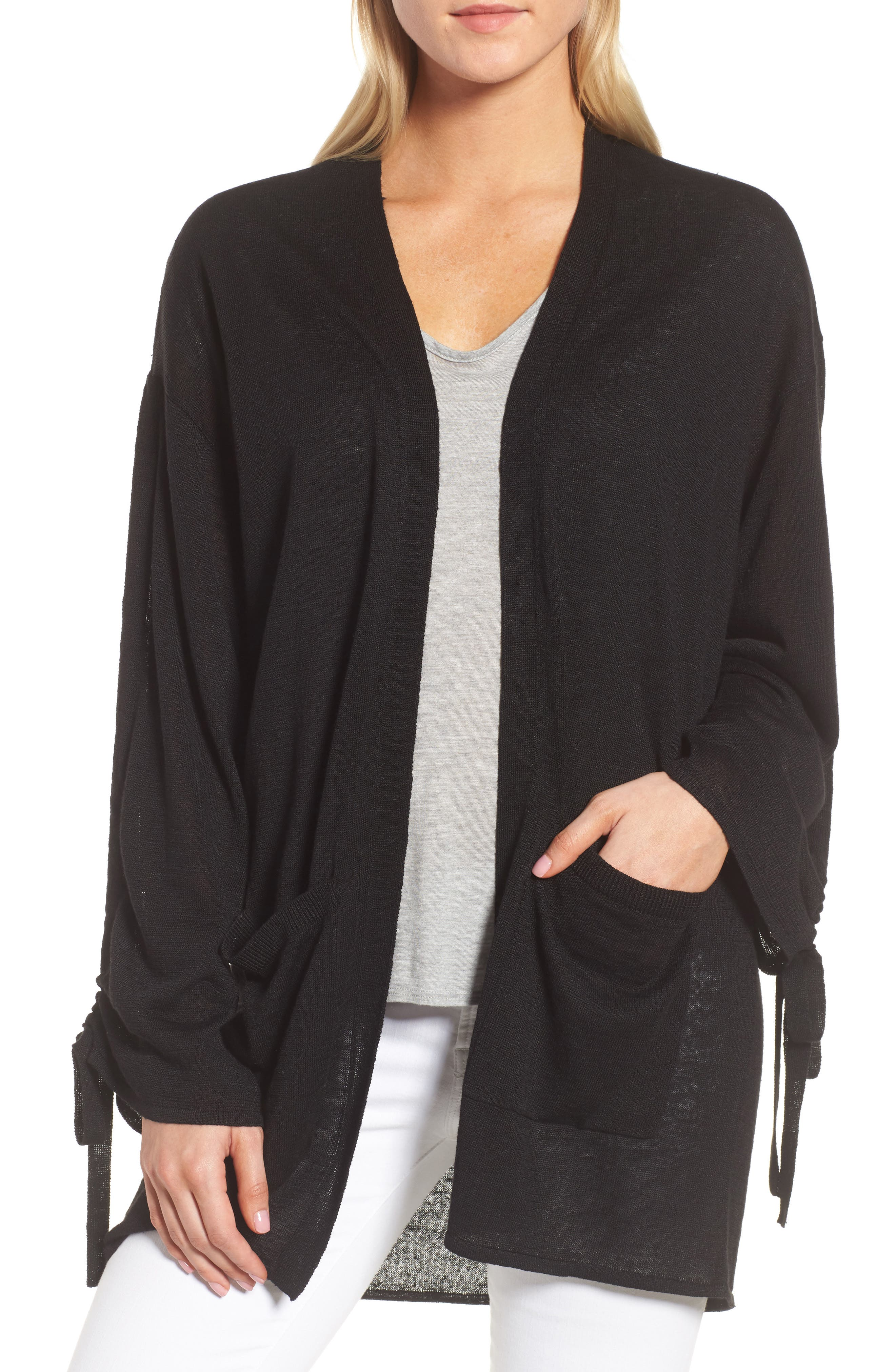 Ruched Sleeve Cardigan,                             Main thumbnail 1, color,                             Black