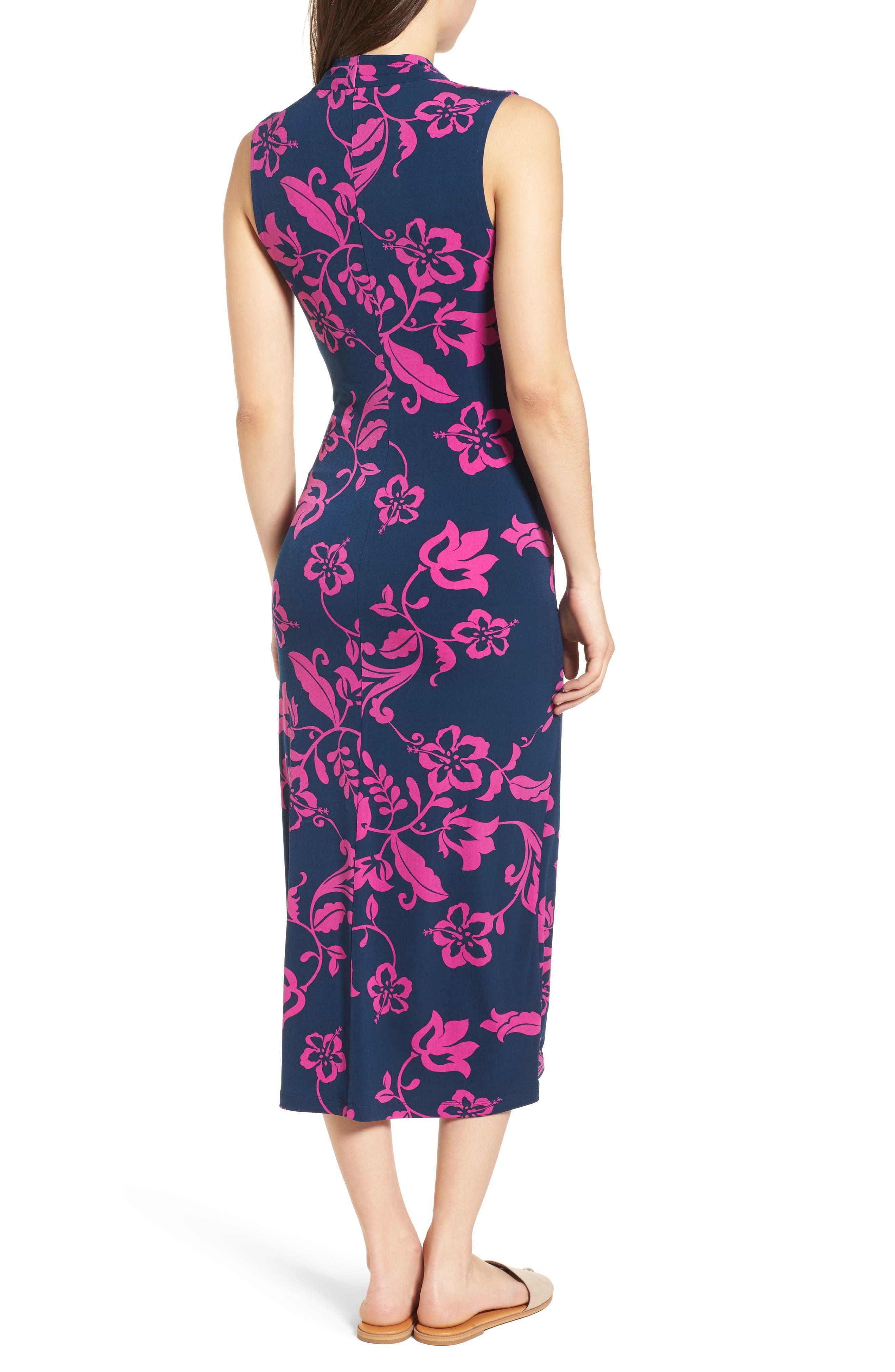 San Lucia Faux Wrap Midi Dress,                             Alternate thumbnail 2, color,                             Ocean Deep