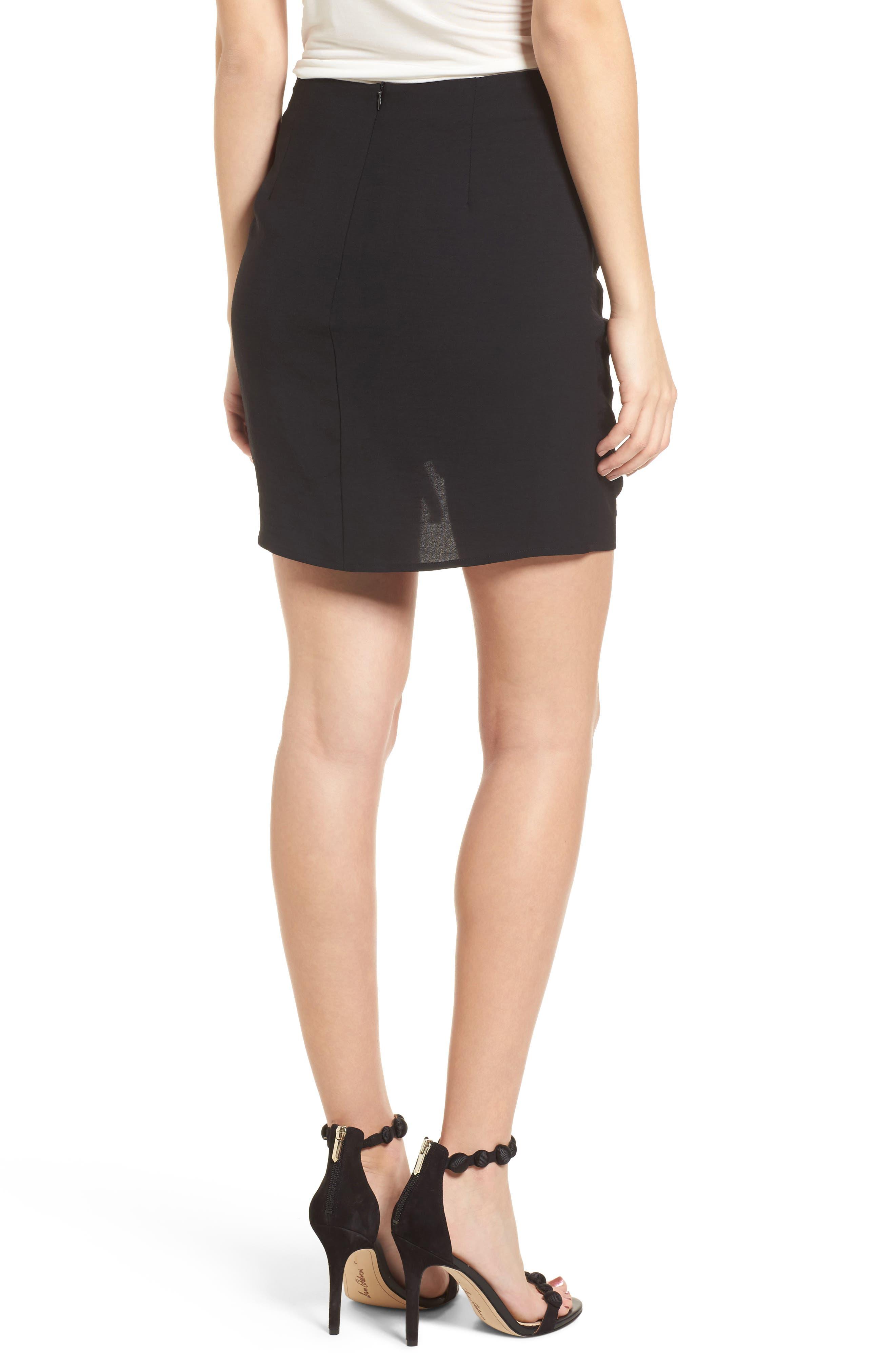 Cinch Hem Miniskirt,                             Alternate thumbnail 2, color,                             Black