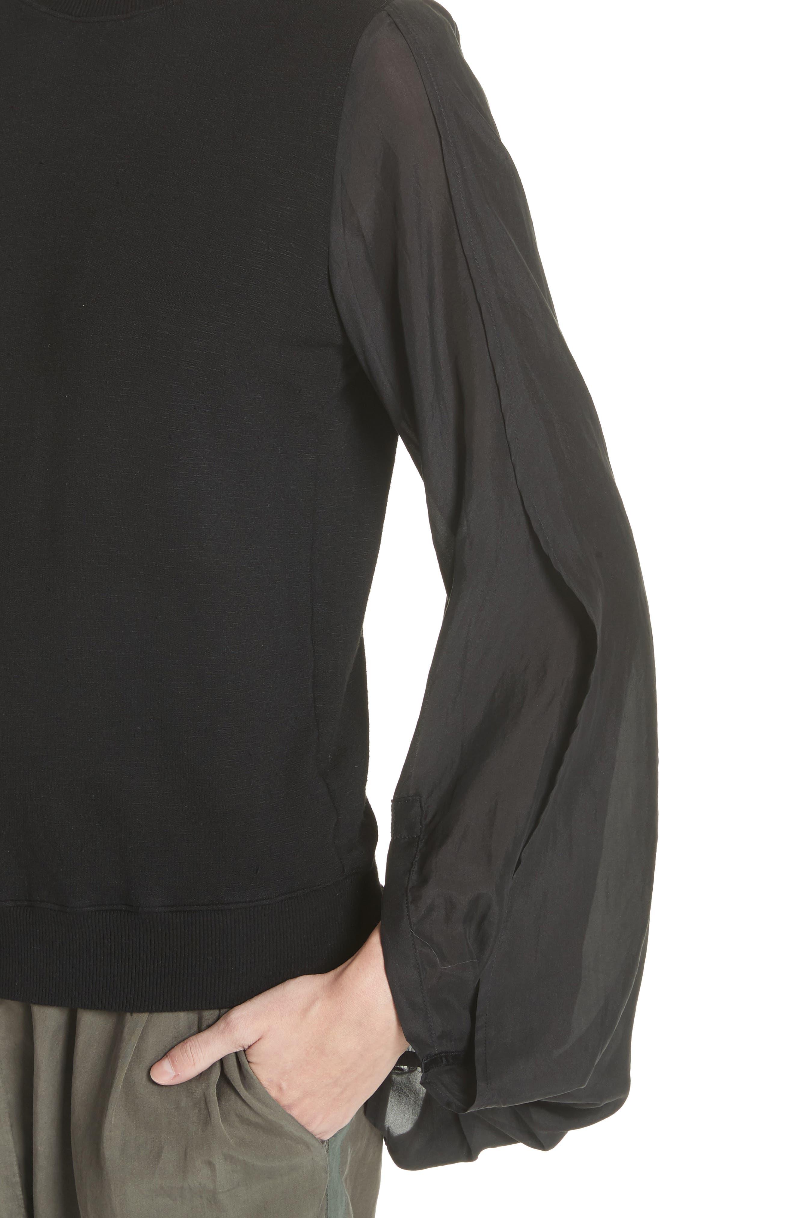 Contrast Sleeve Sweatshirt,                             Alternate thumbnail 4, color,                             Black