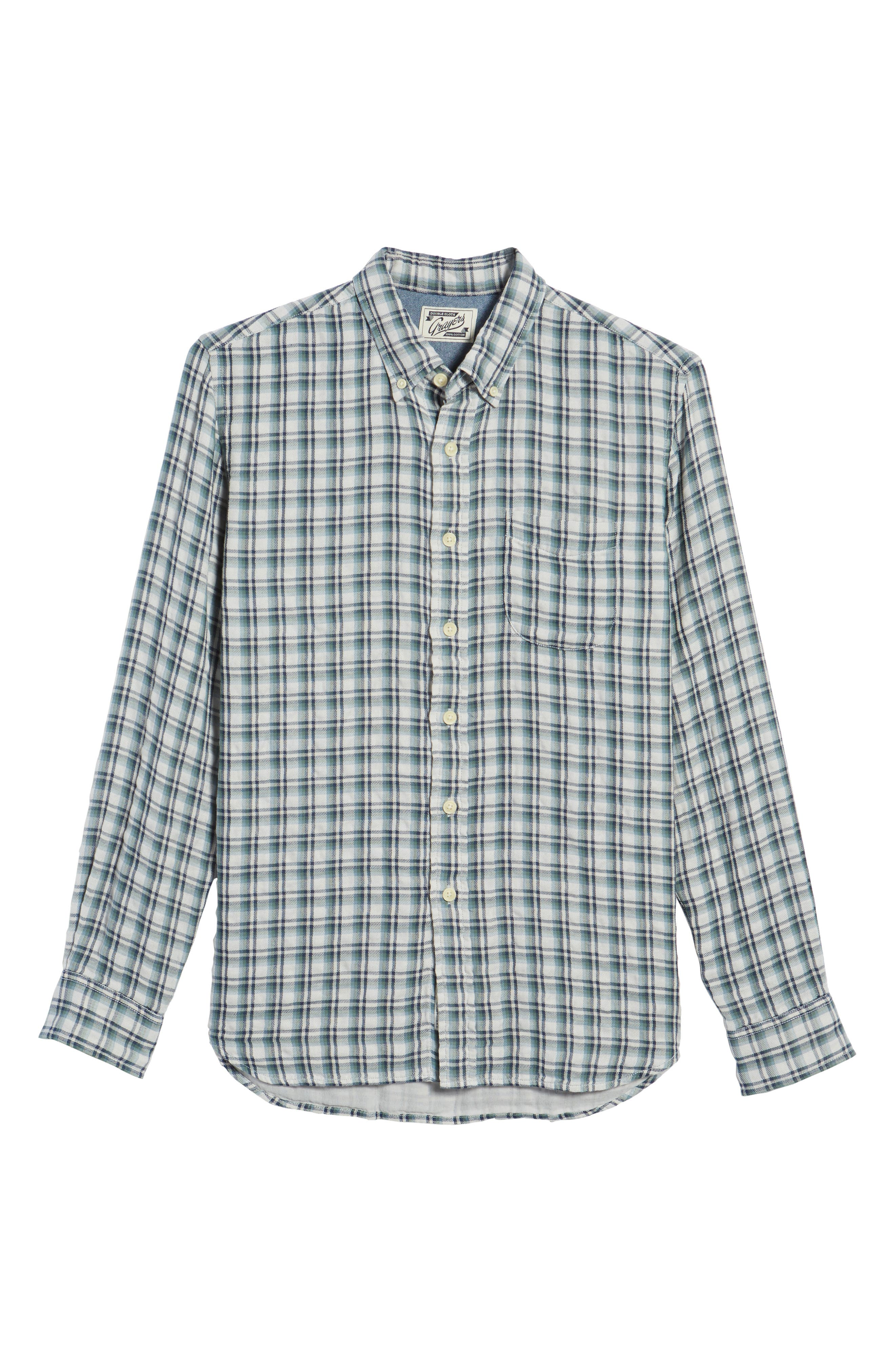 Boulder Double Cloth Plaid Sport Shirt,                             Alternate thumbnail 6, color,                             Cream Green Navy
