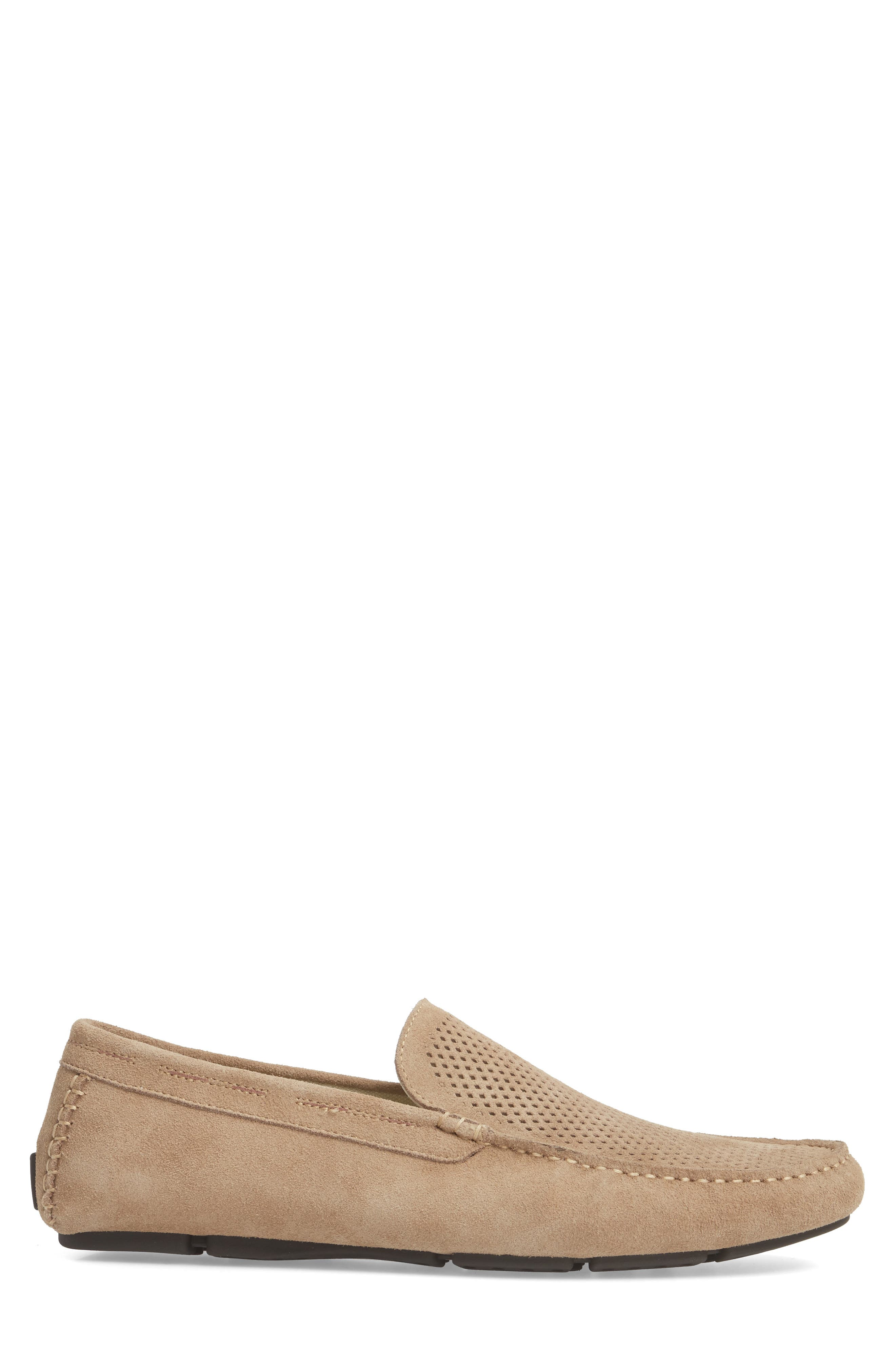 Scottsdale Perforated Driving Moccasin,                             Alternate thumbnail 3, color,                             Tan Suede