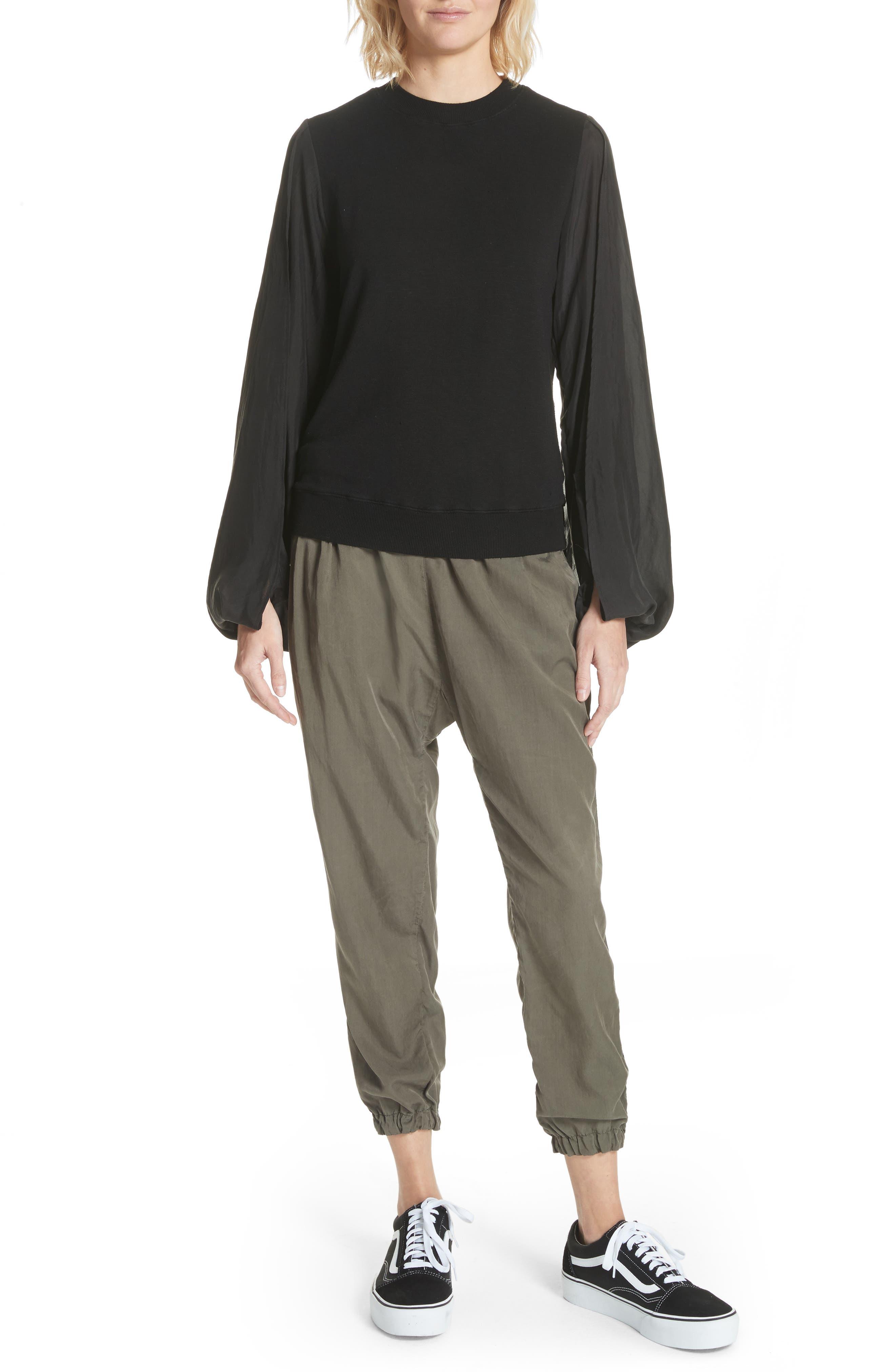 Contrast Sleeve Sweatshirt,                             Alternate thumbnail 7, color,                             Black