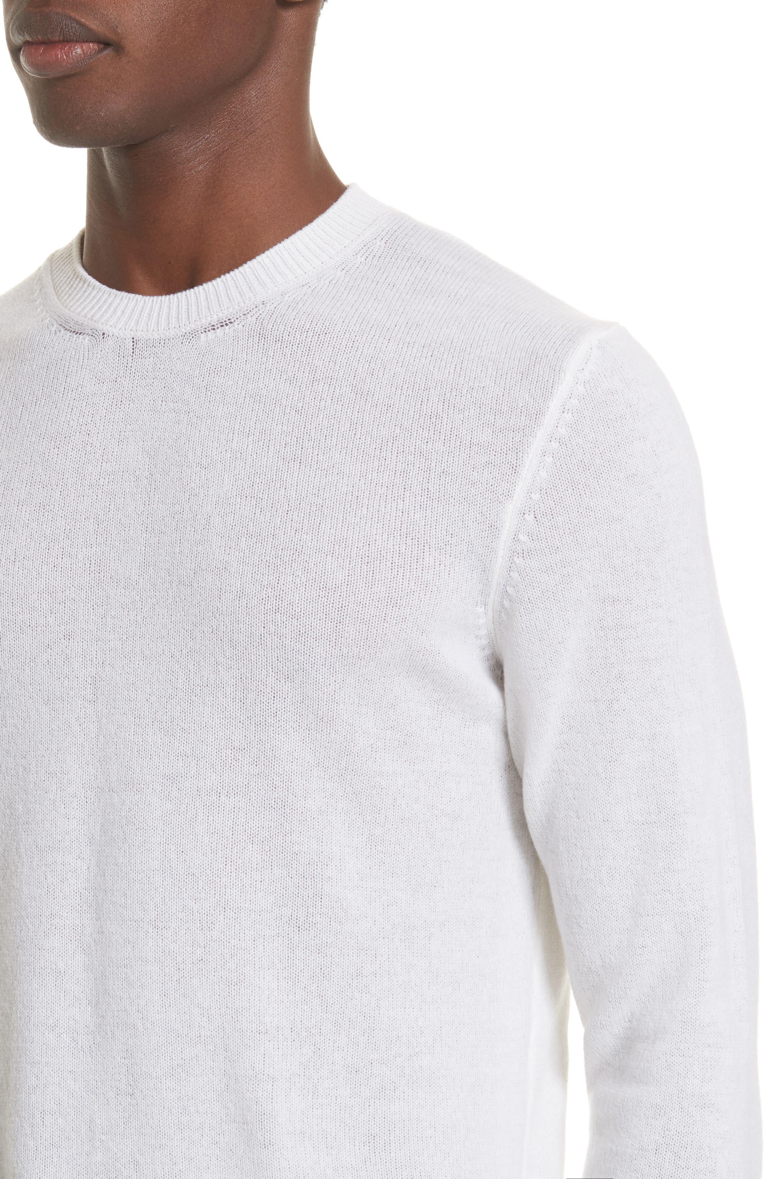 Cashmere Crewneck Sweater,                             Alternate thumbnail 4, color,                             White