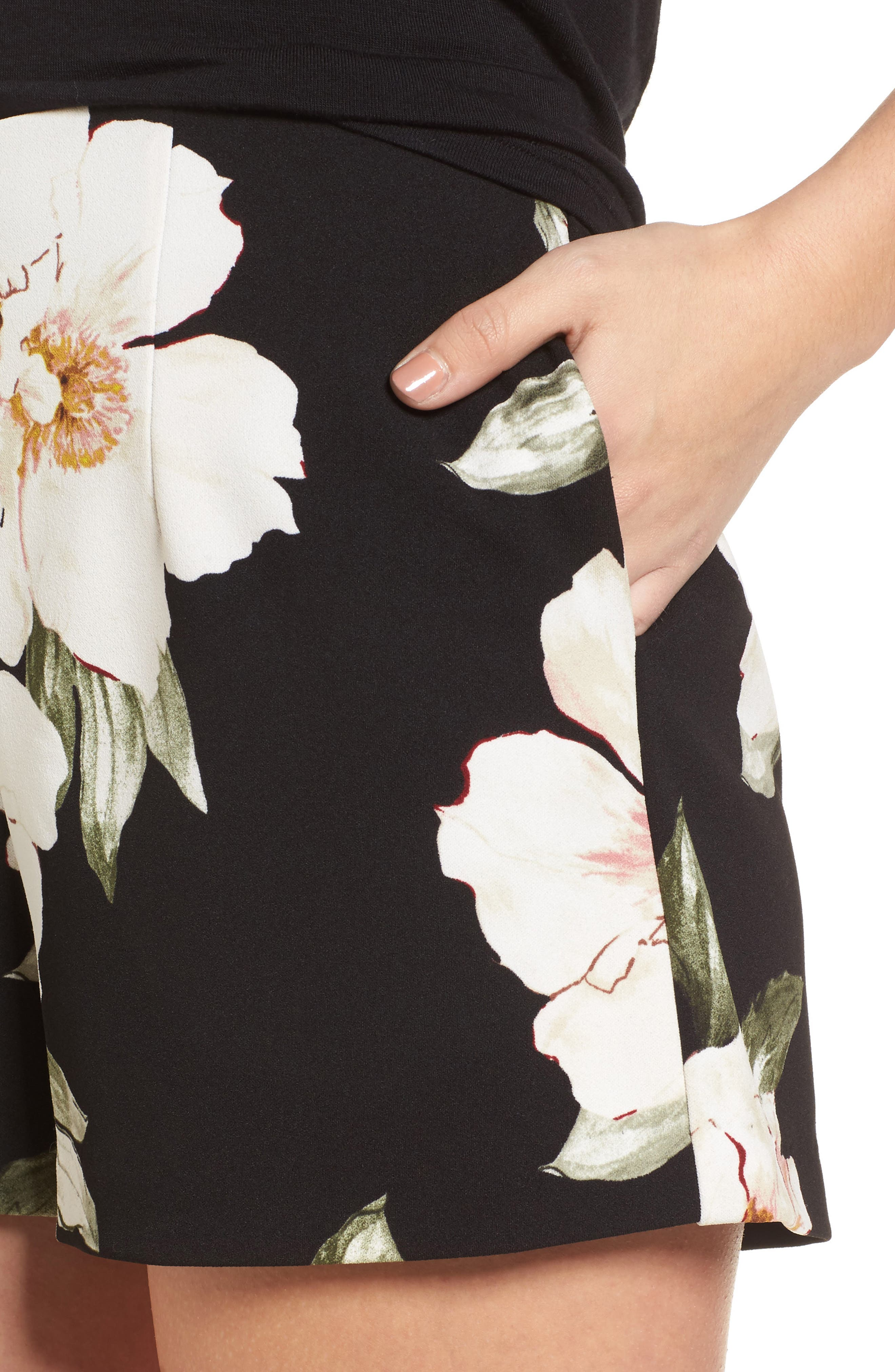 High Waist Shorts,                             Alternate thumbnail 4, color,                             Black Exploded Floral