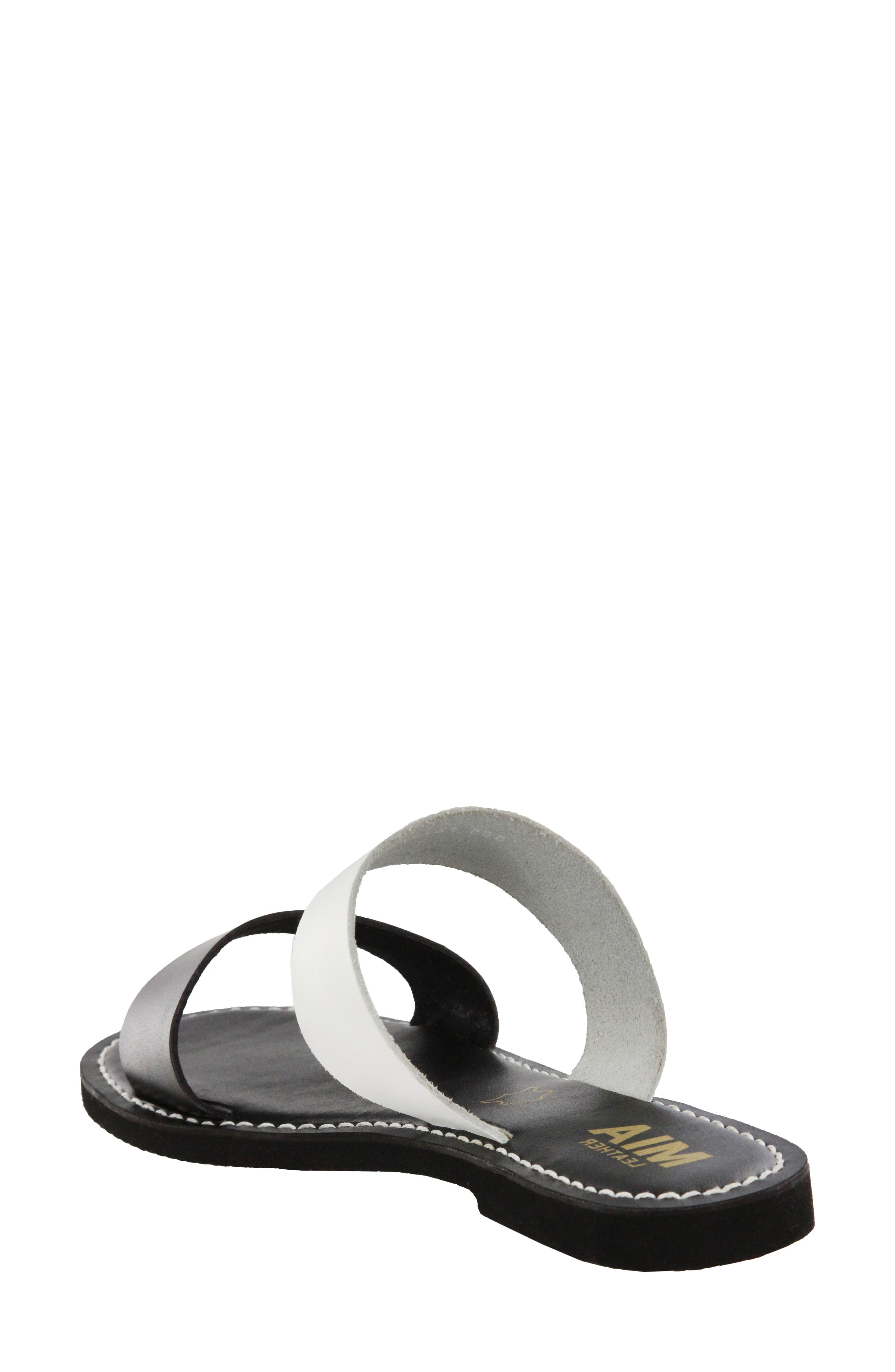Nila Two-Band Slide Sandal,                             Alternate thumbnail 2, color,                             Black/ White Leather