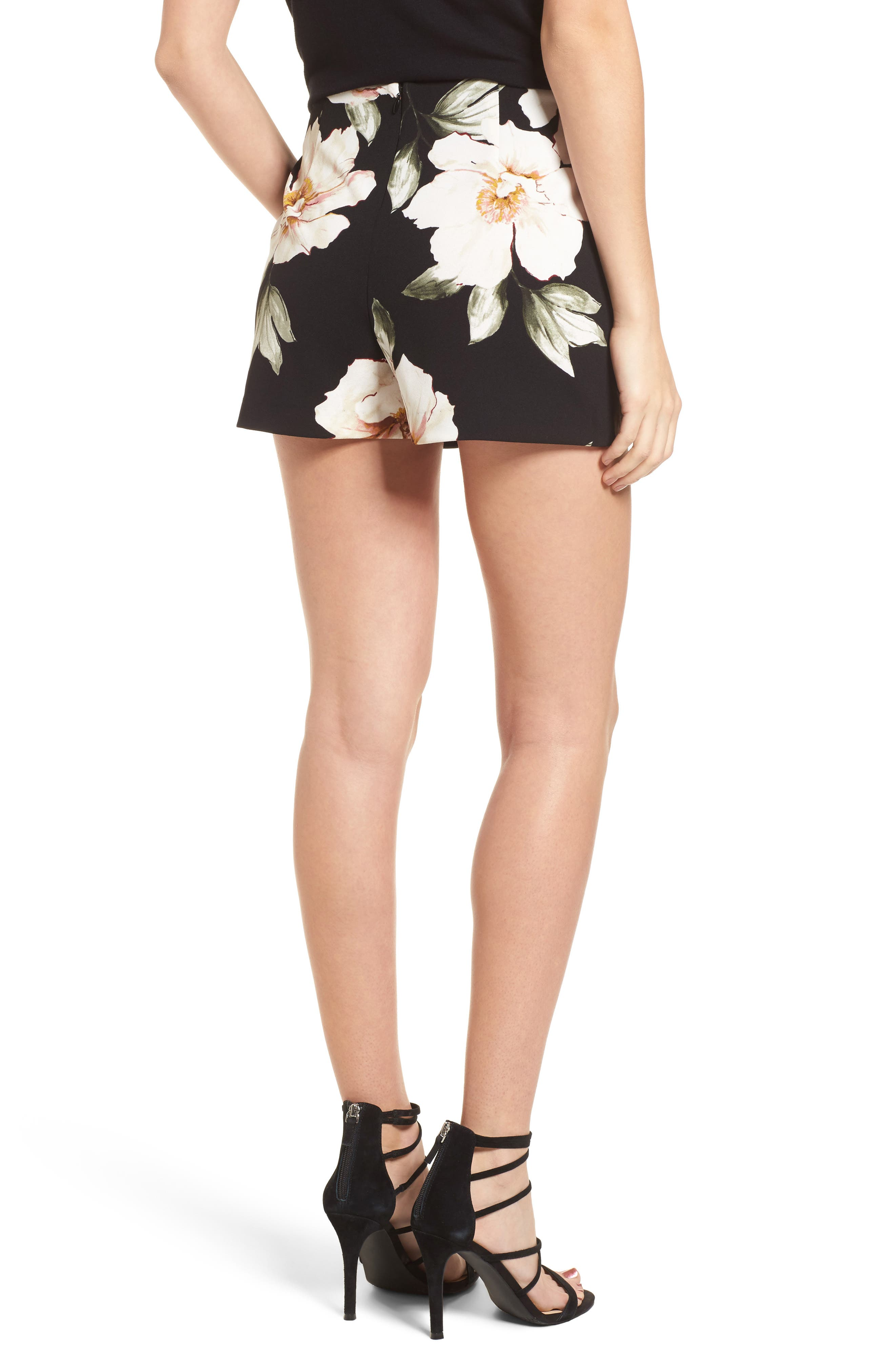 High Waist Shorts,                             Alternate thumbnail 2, color,                             Black Exploded Floral
