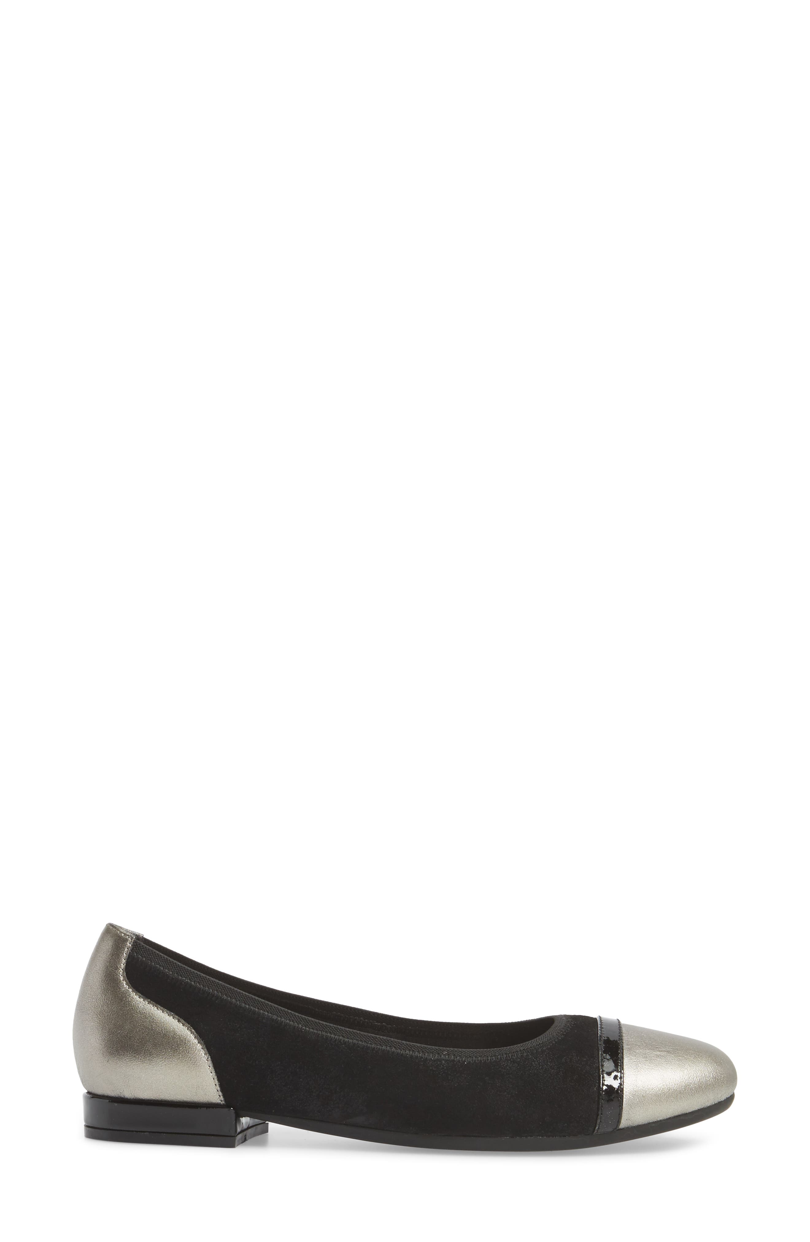 Luscious Flat,                             Alternate thumbnail 3, color,                             Black Leather