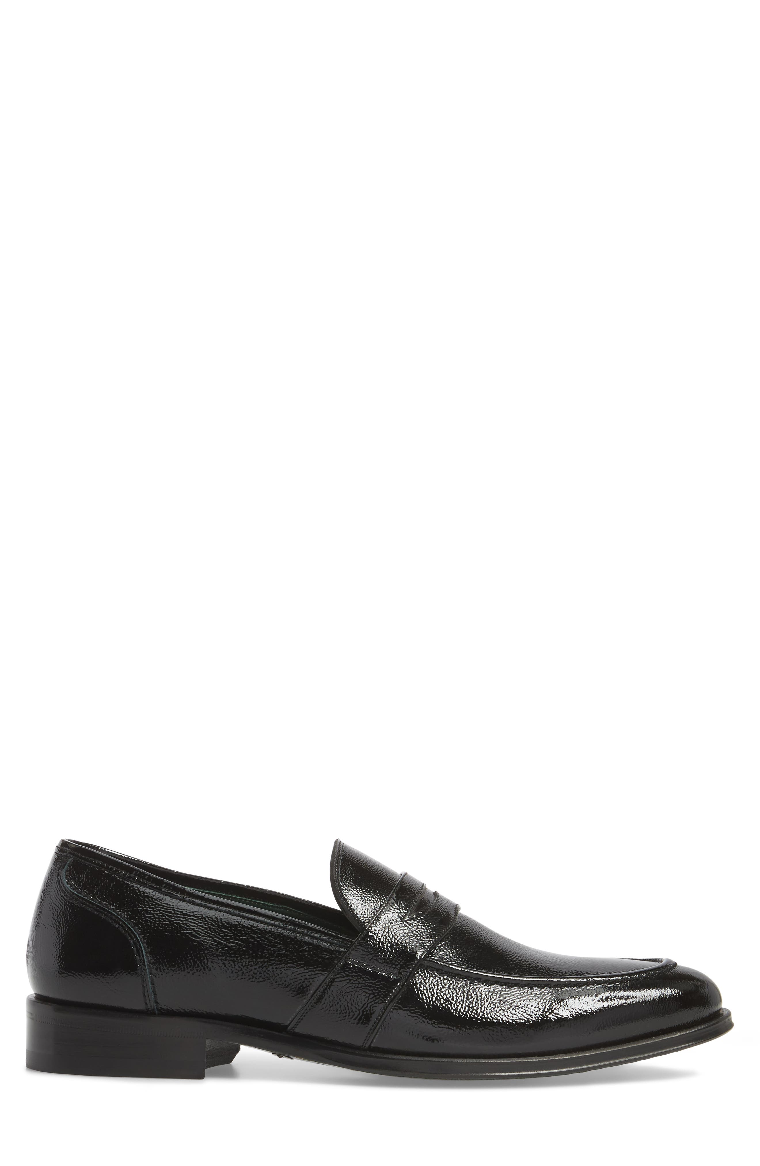 Argos Penny Loafer,                             Alternate thumbnail 3, color,                             Black Patent Leather