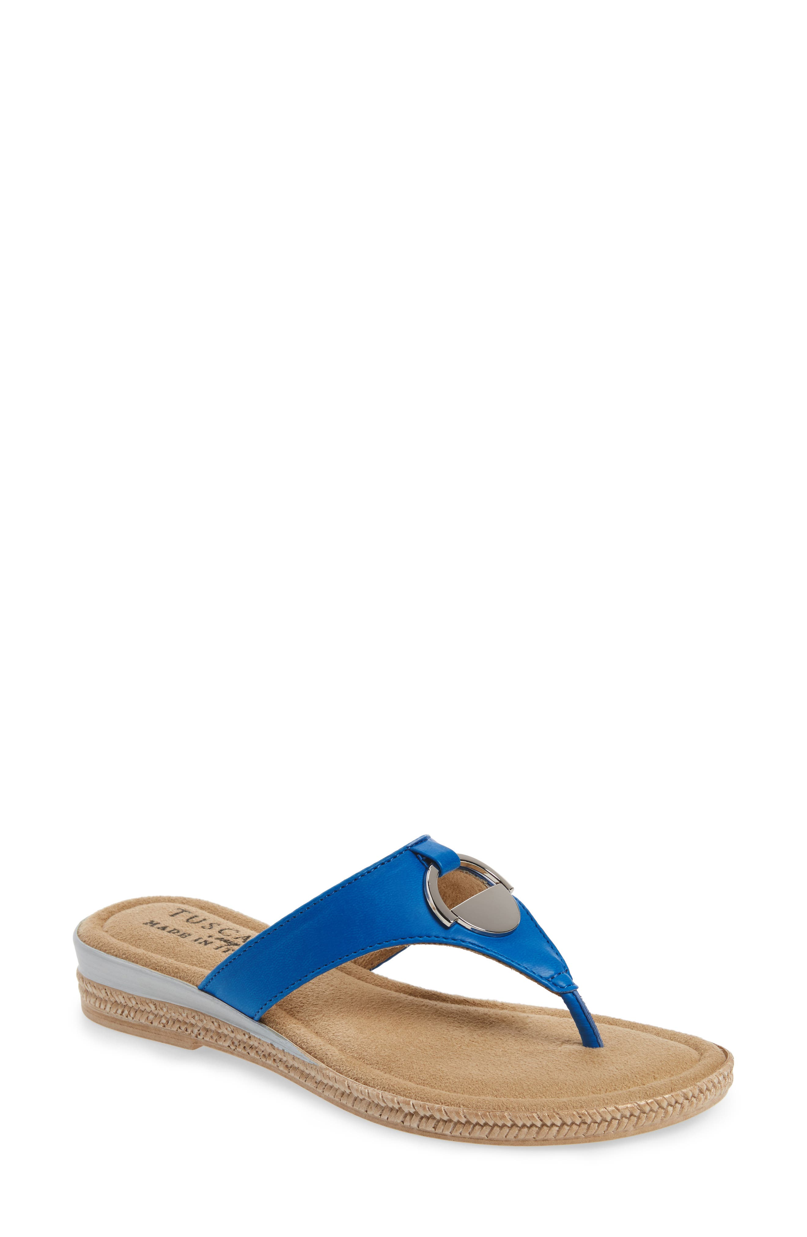 by Easy Street<sup>®</sup> Belinda Flip Flop,                         Main,                         color, Blue Faux Leather