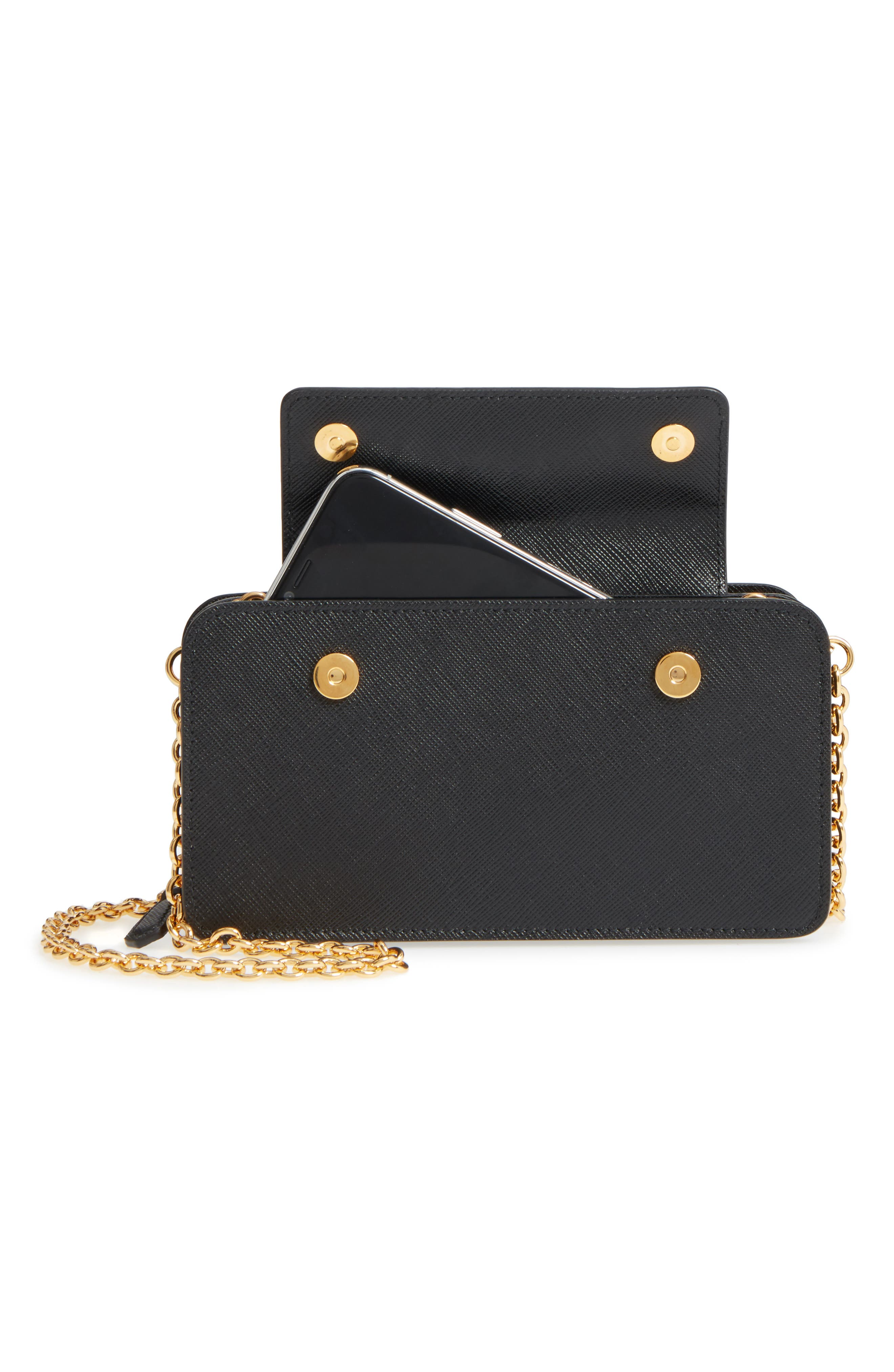 Saffiano Leather Metal Oral Phone Wallet on a Chain,                             Alternate thumbnail 3, color,                             Nero