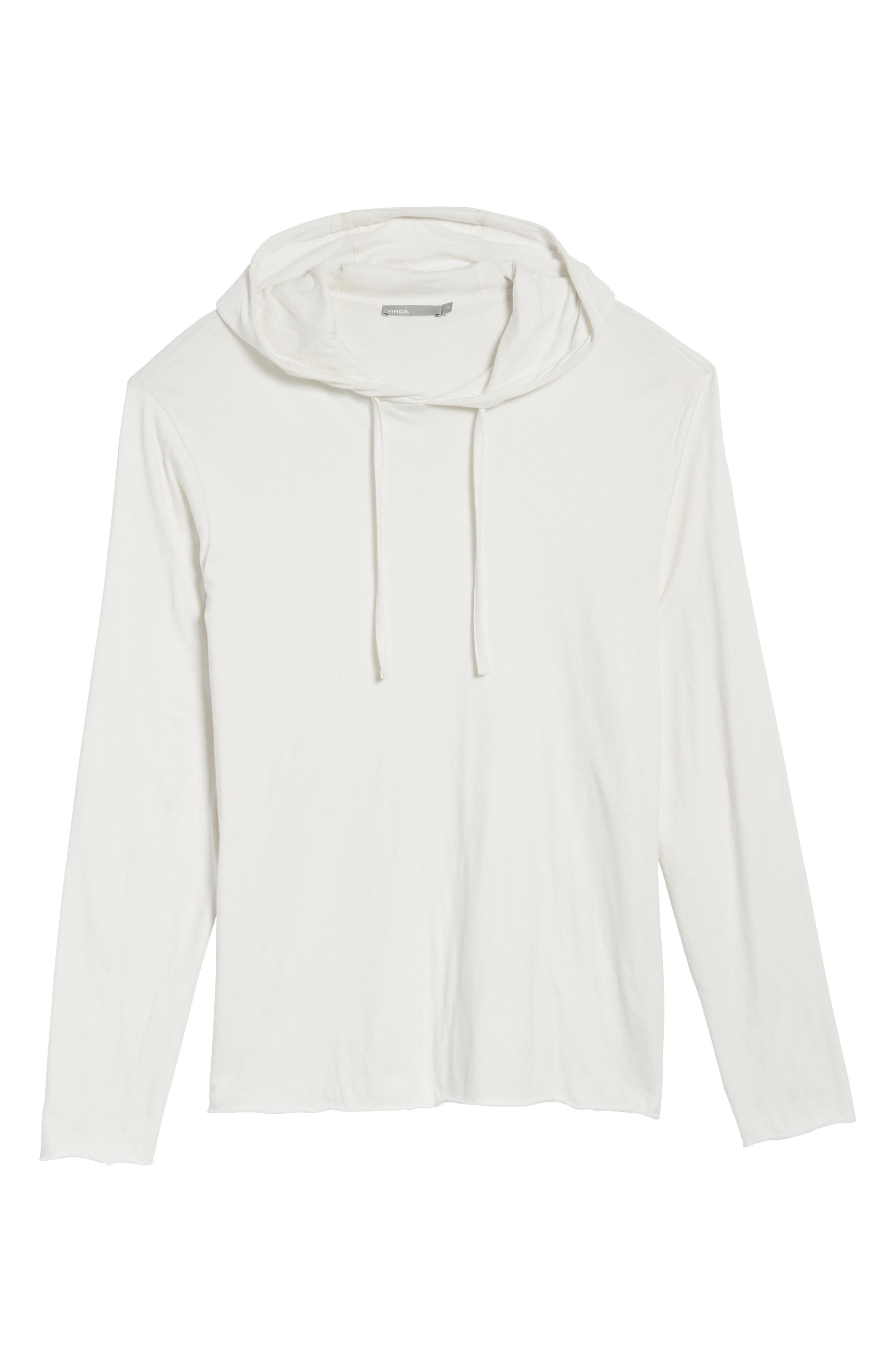 Layered Long Sleeve Pullover Hoodie,                             Alternate thumbnail 7, color,                             Optic White