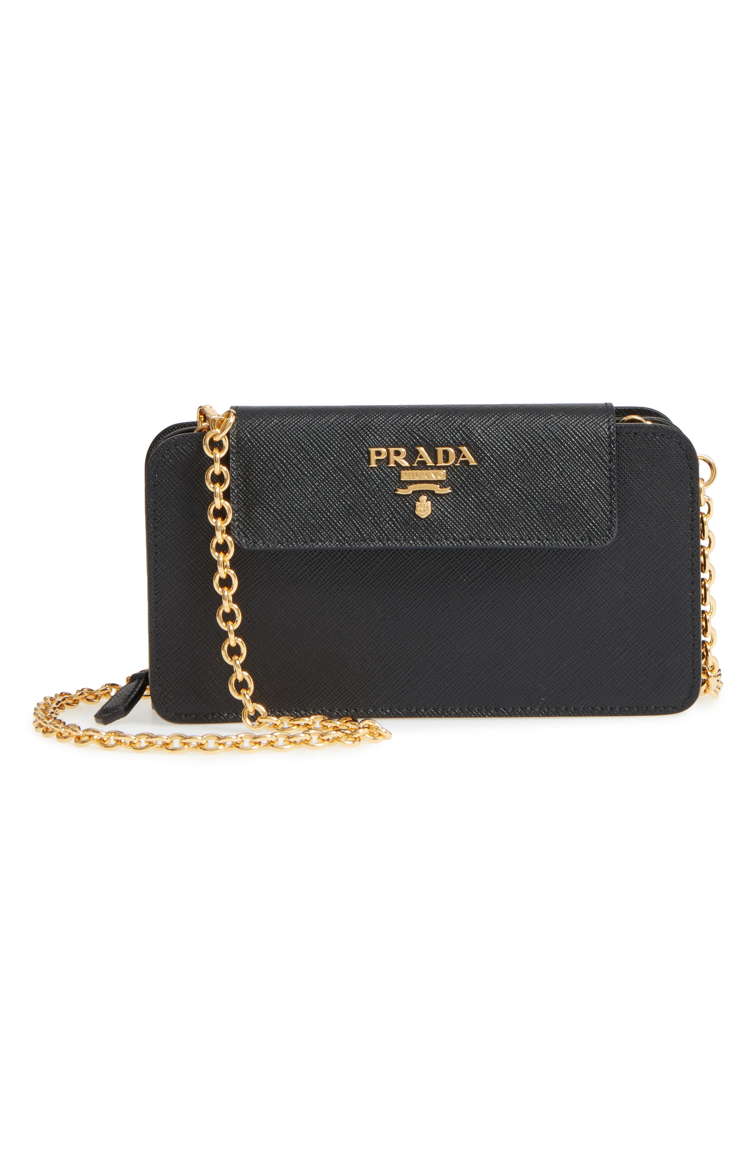 Saffiano Leather Metal Oral Phone Wallet on a Chain,                             Main thumbnail 1, color,                             Nero