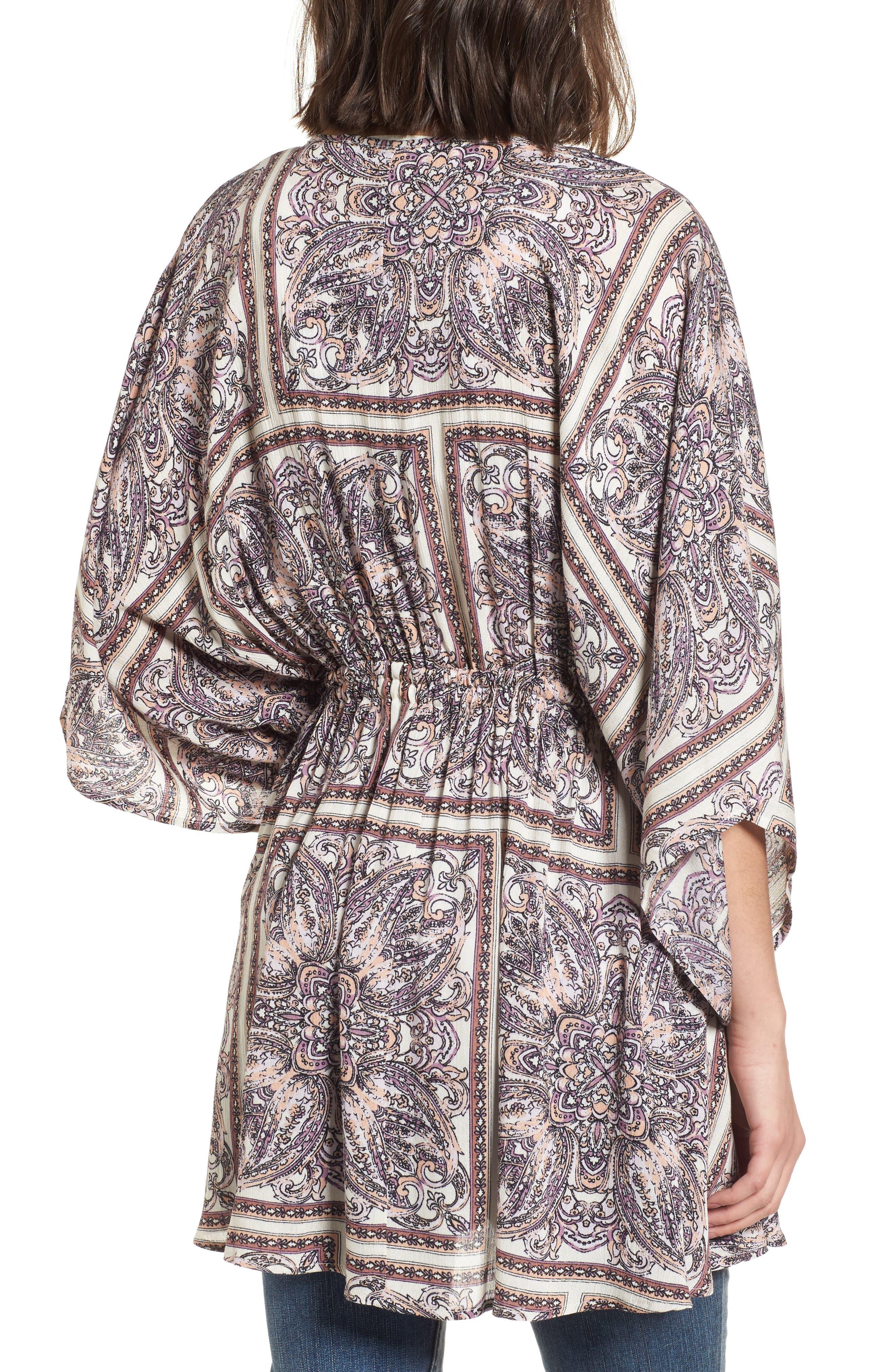 Royal Tiles Cover-Up Kimono,                             Alternate thumbnail 2, color,                             Ivory Combo
