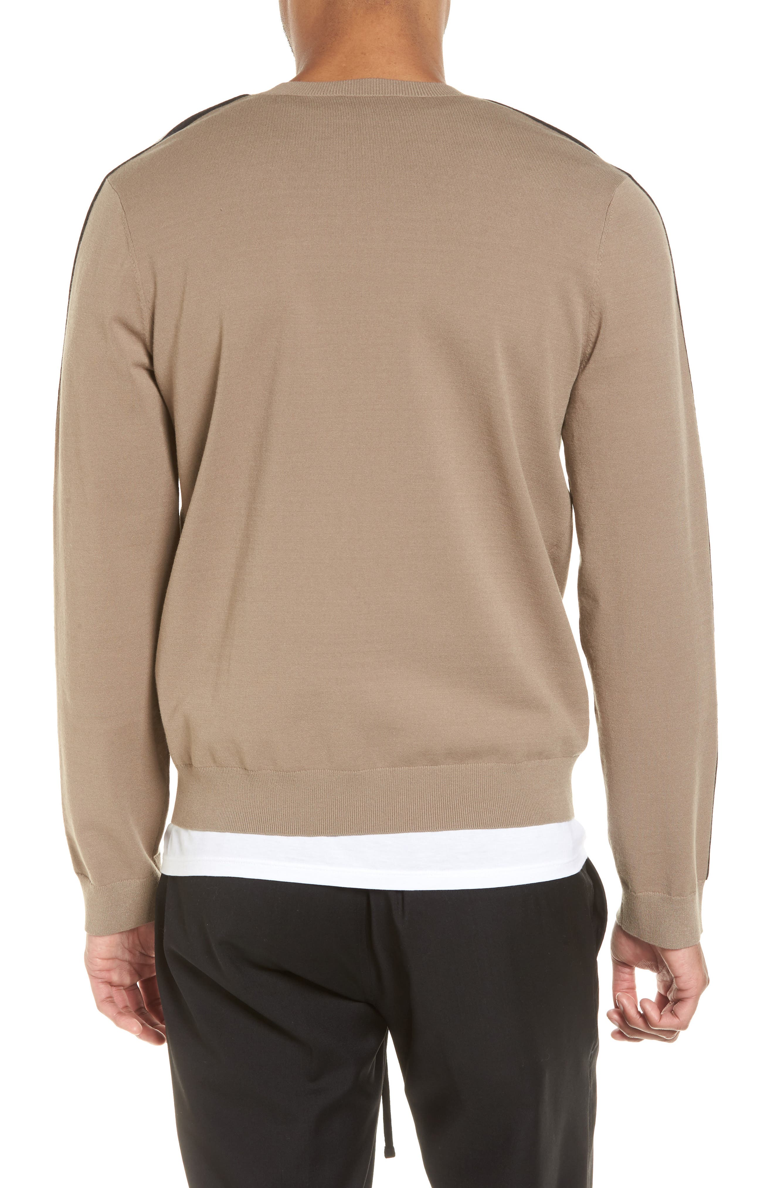 Track Stripe Crewneck Sweater,                             Alternate thumbnail 2, color,                             Pebble Taupe