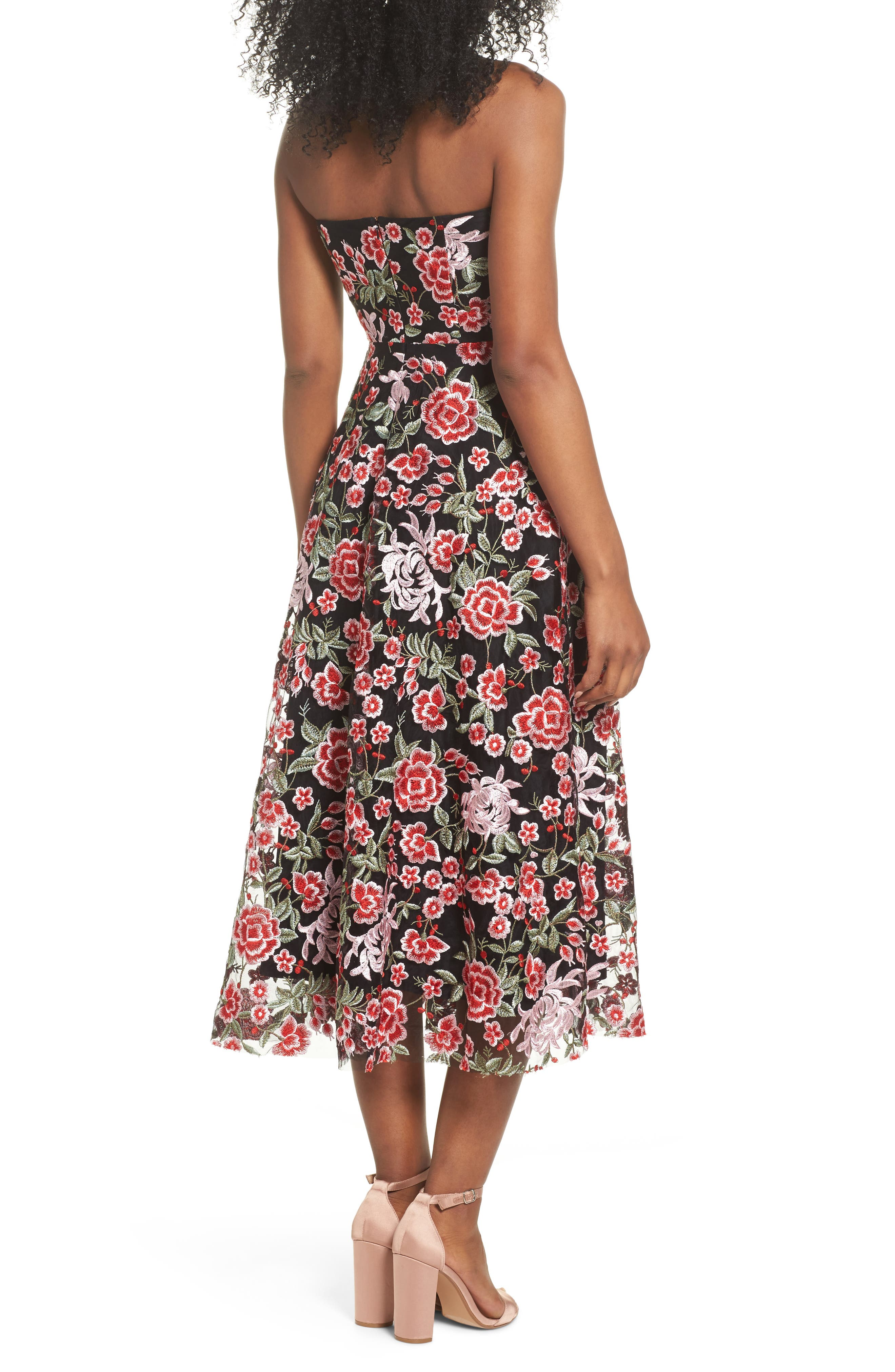 Cosette Embroidered Strapless Dress,                             Alternate thumbnail 2, color,                             Black Multi