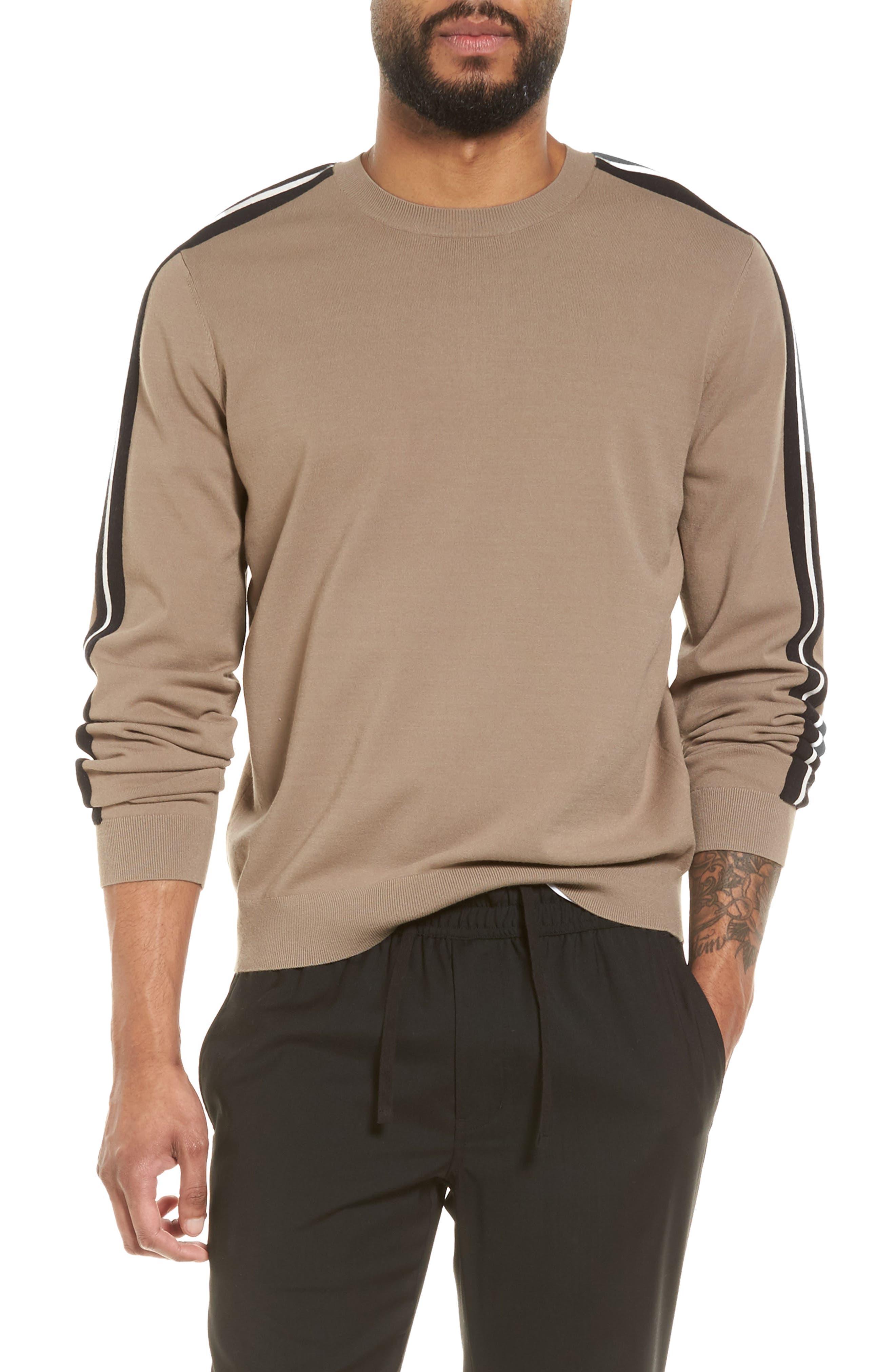 Track Stripe Crewneck Sweater,                             Main thumbnail 1, color,                             Pebble Taupe