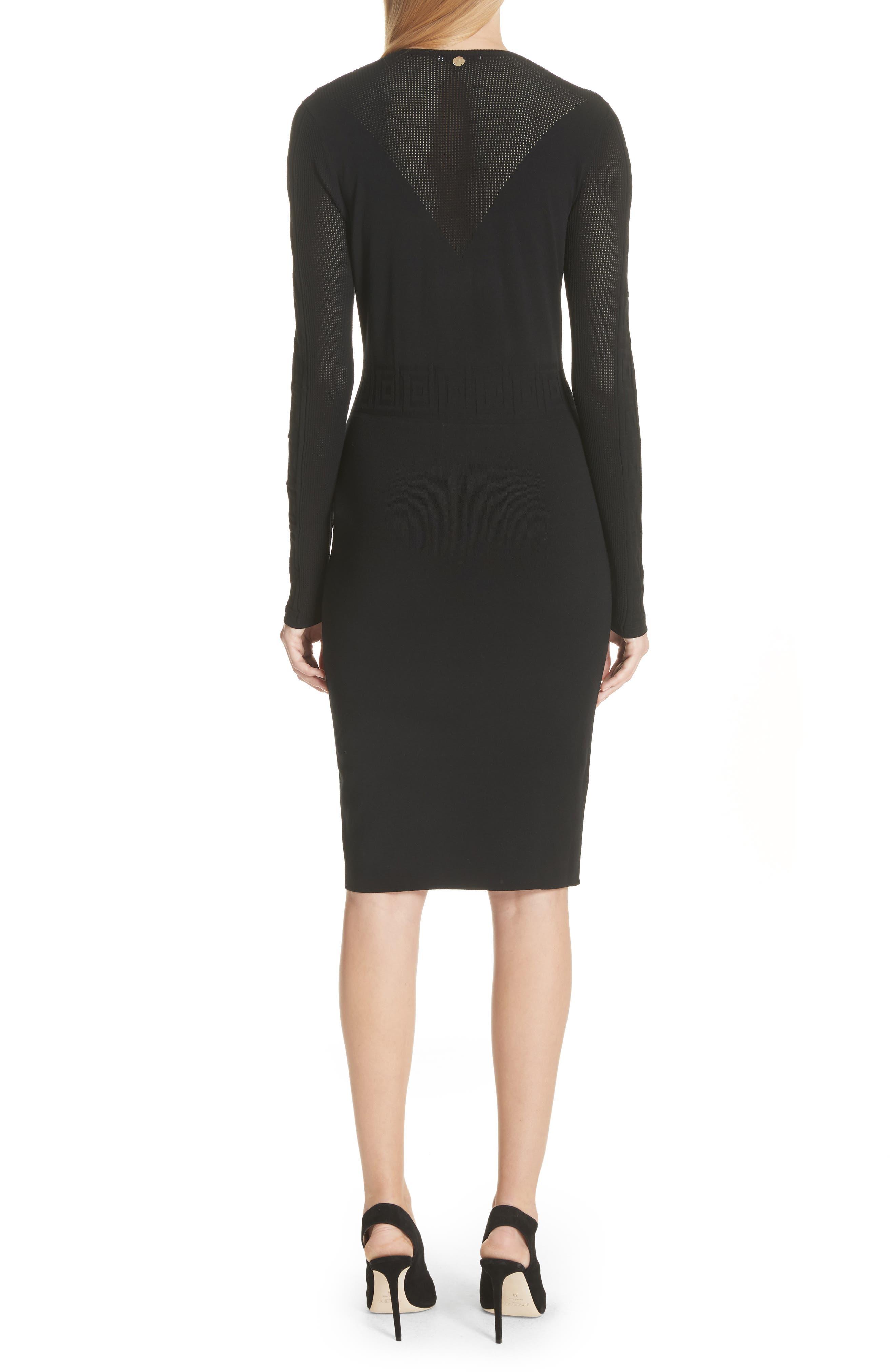 Sheer Detail Knit Dress,                             Alternate thumbnail 2, color,                             Black
