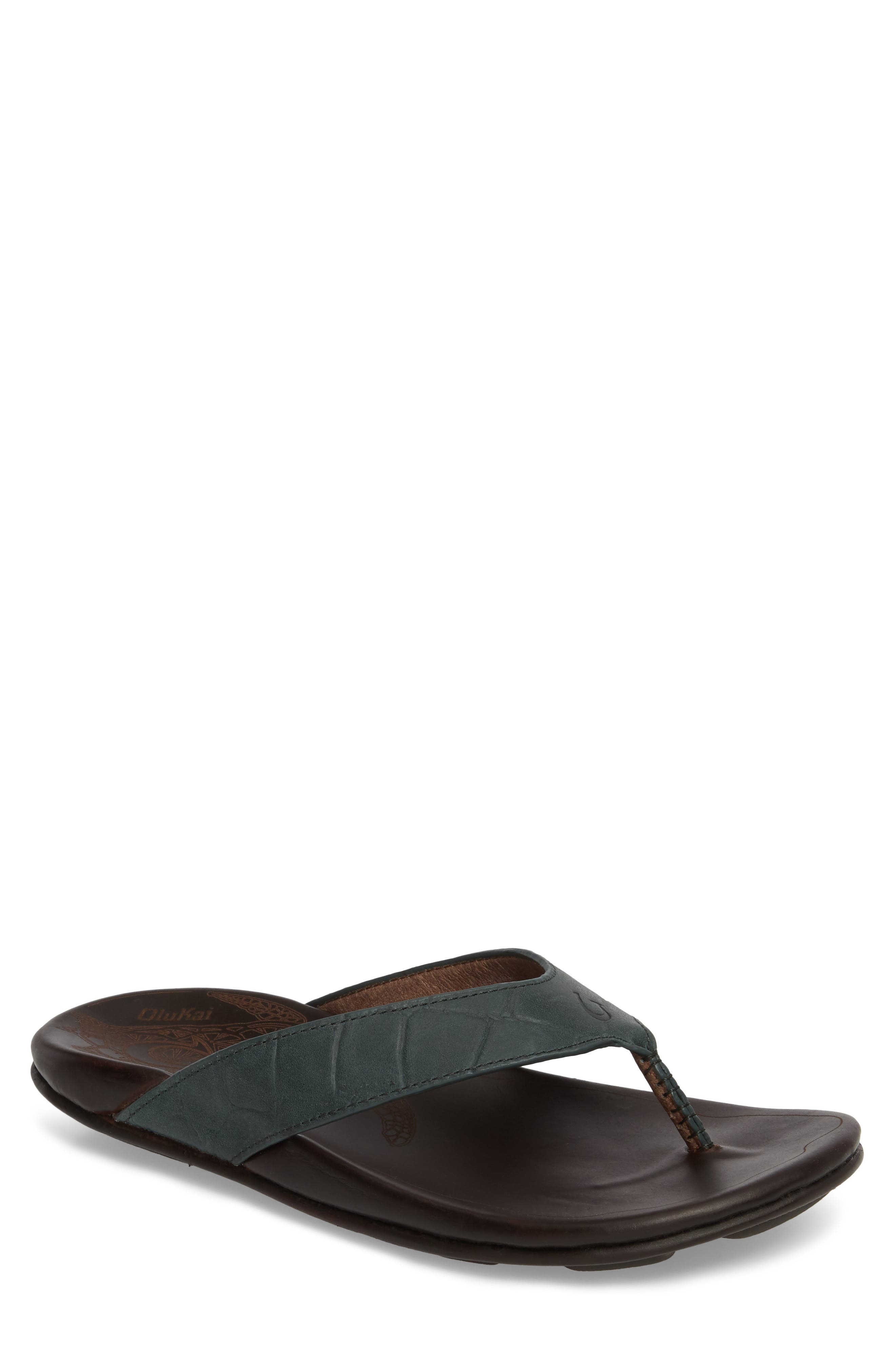 Kohana Kai Flip Flop,                         Main,                         color, Moss/ Dark Wood