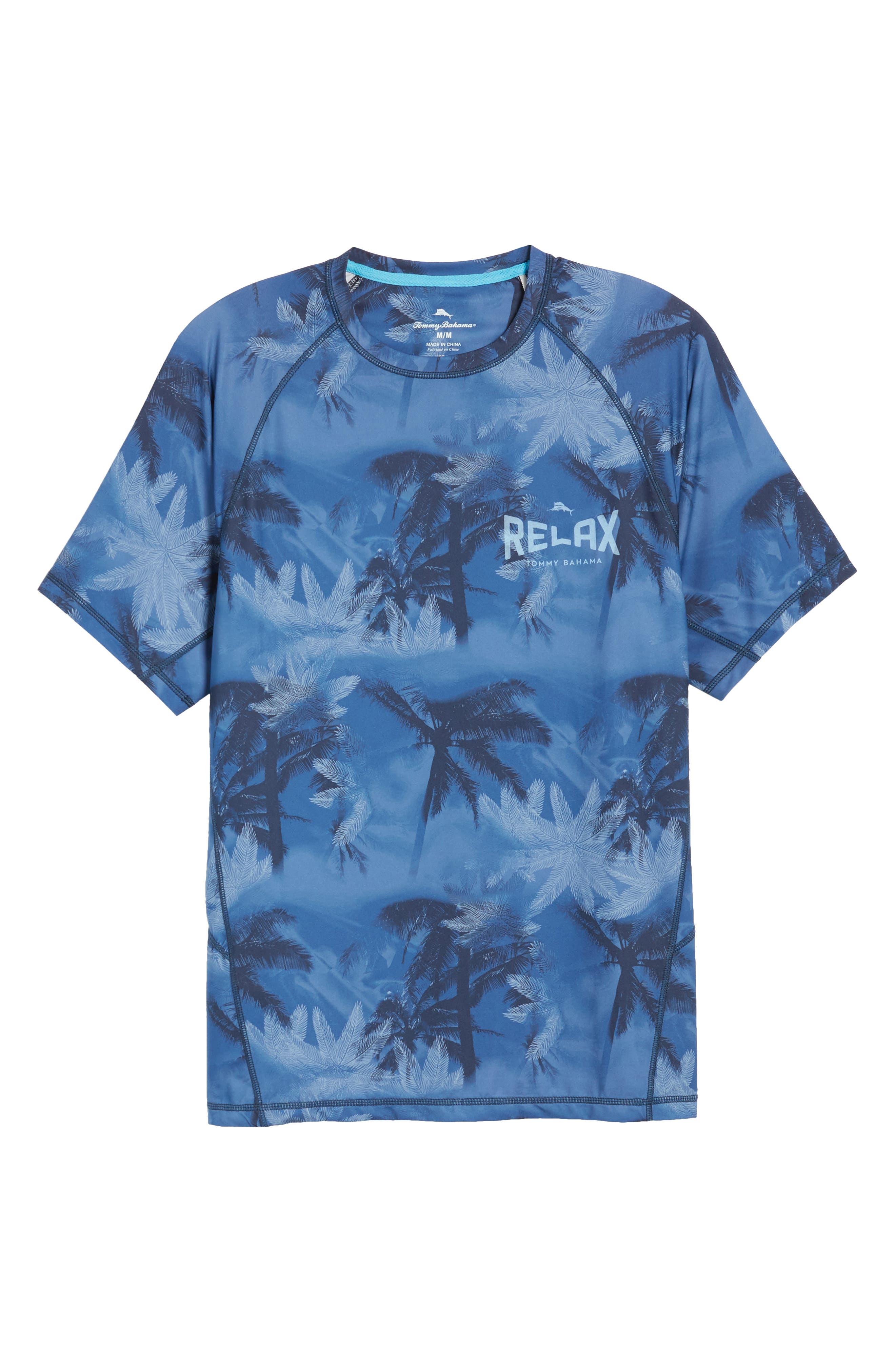 Tropic Haze Print Performance T-Shirt,                             Alternate thumbnail 6, color,                             Atlantic