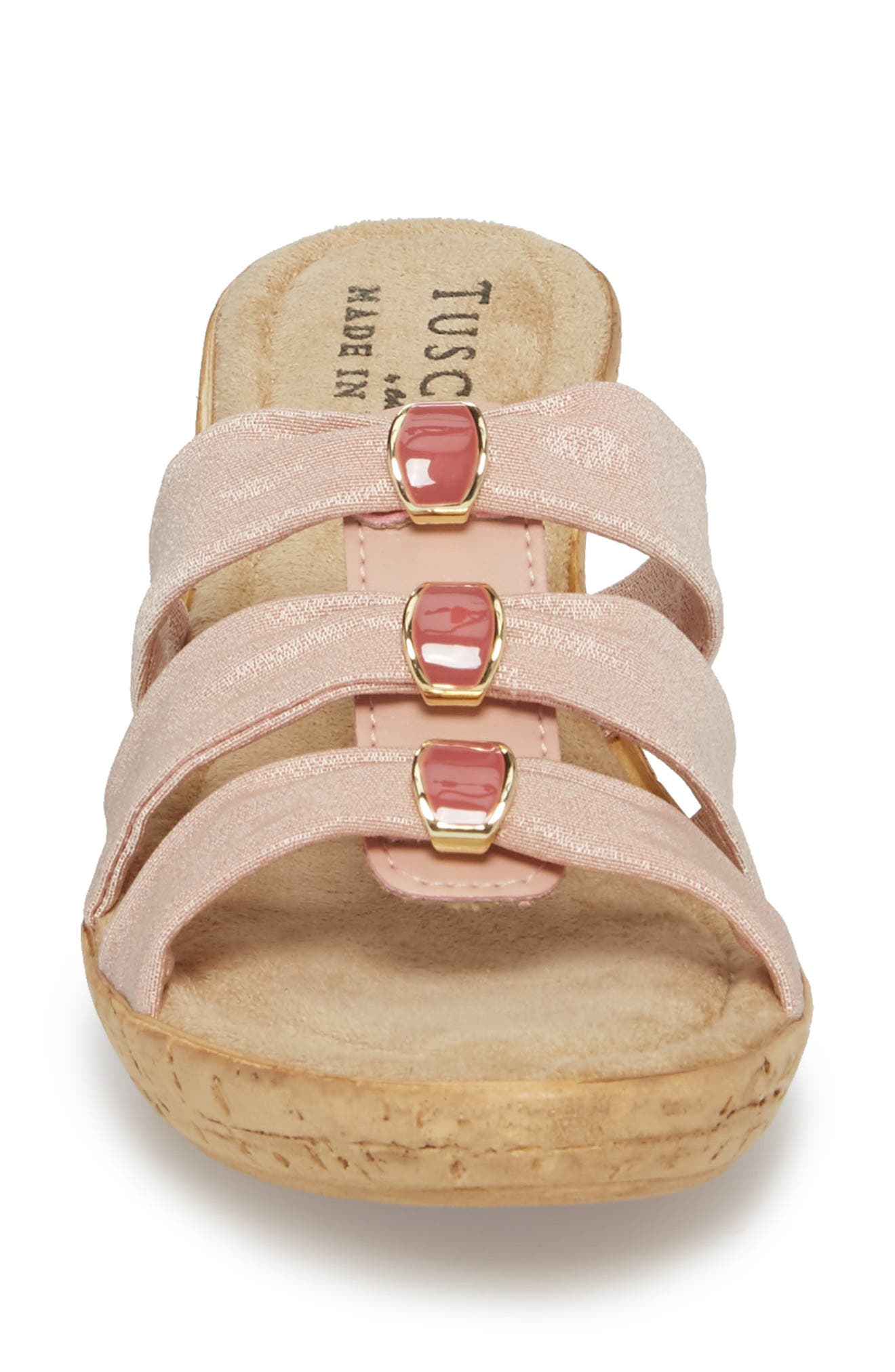 by Easy Street<sup>®</sup> Andrea Wedge Slide,                             Alternate thumbnail 4, color,                             Blush Fabric