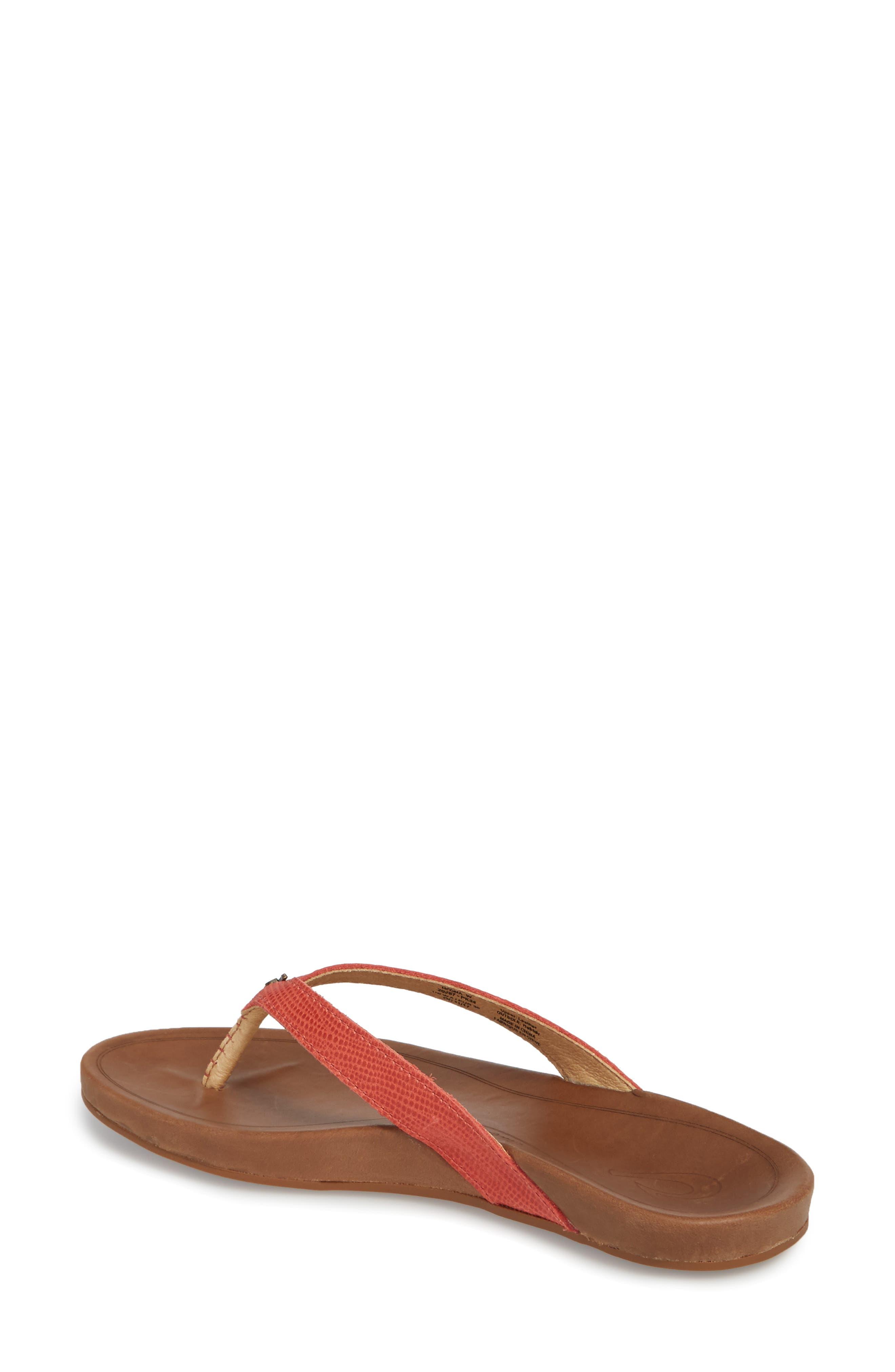 'Hi Ona' Flip Flop,                             Alternate thumbnail 2, color,                             Paprika/ Tan Leather