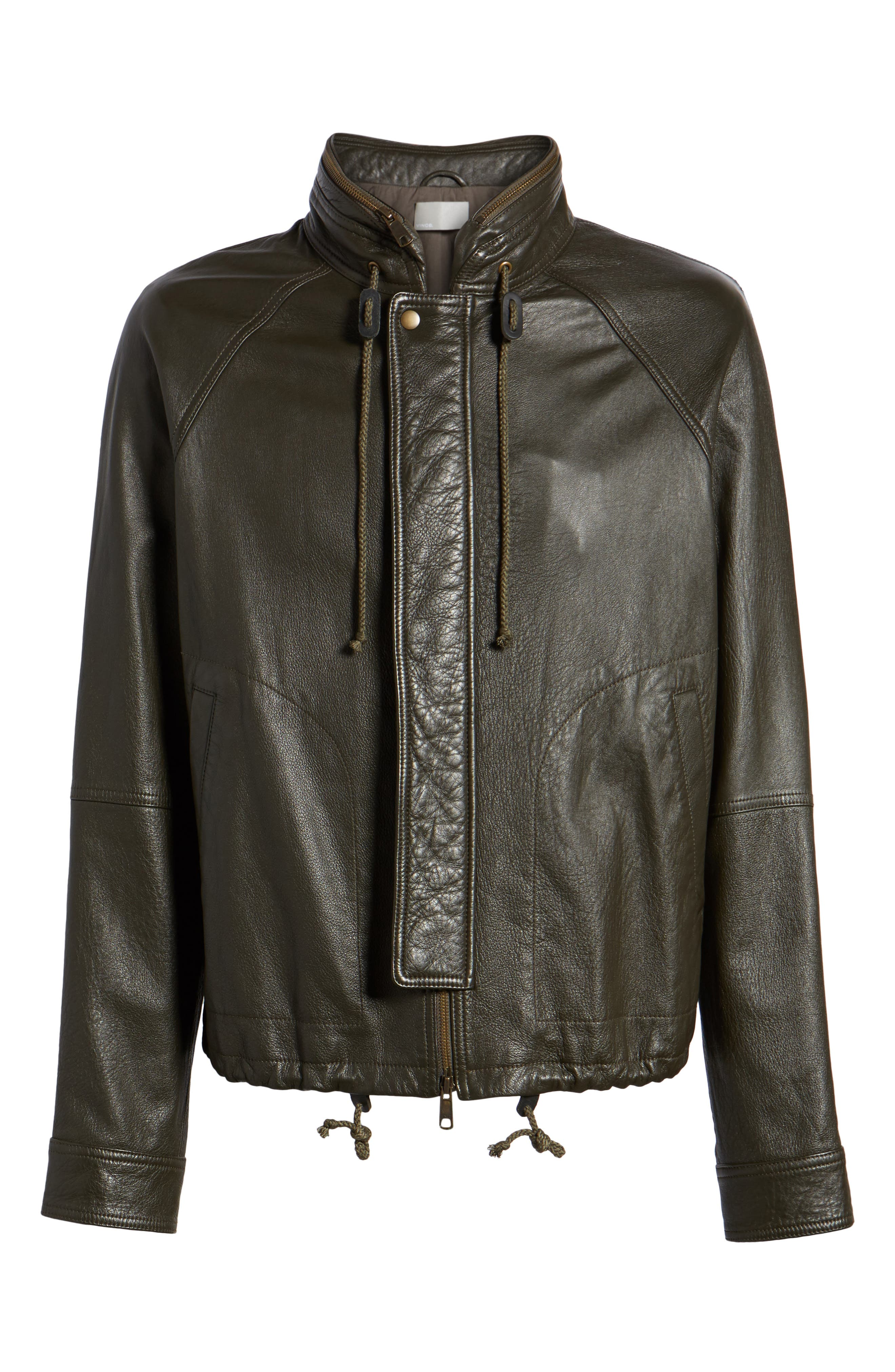 Slim Fit Lambskin Leather Parka,                             Alternate thumbnail 5, color,                             Olive