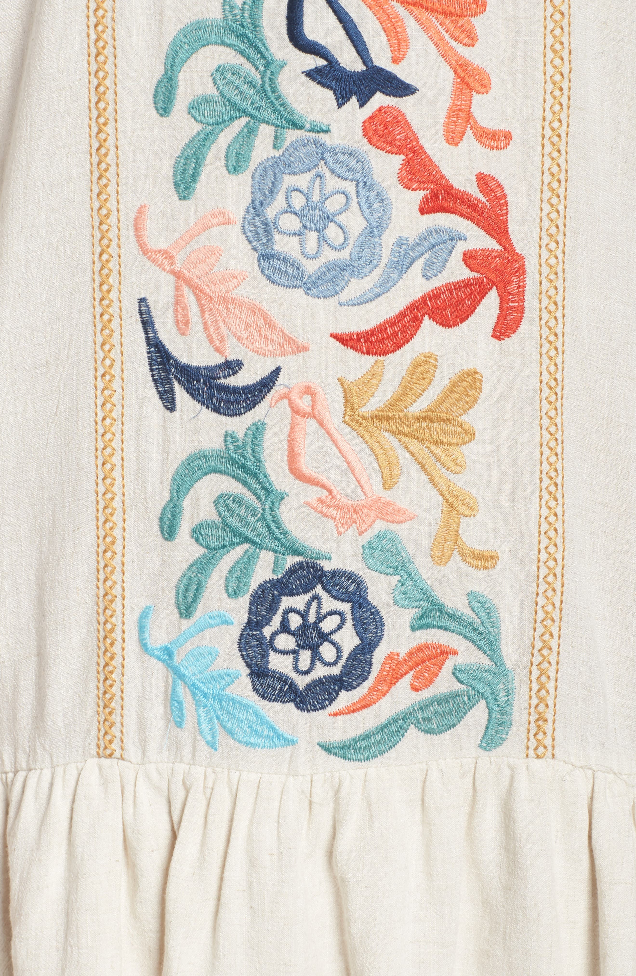 Embroidered Drop Waist Dress,                             Alternate thumbnail 5, color,                             Cream