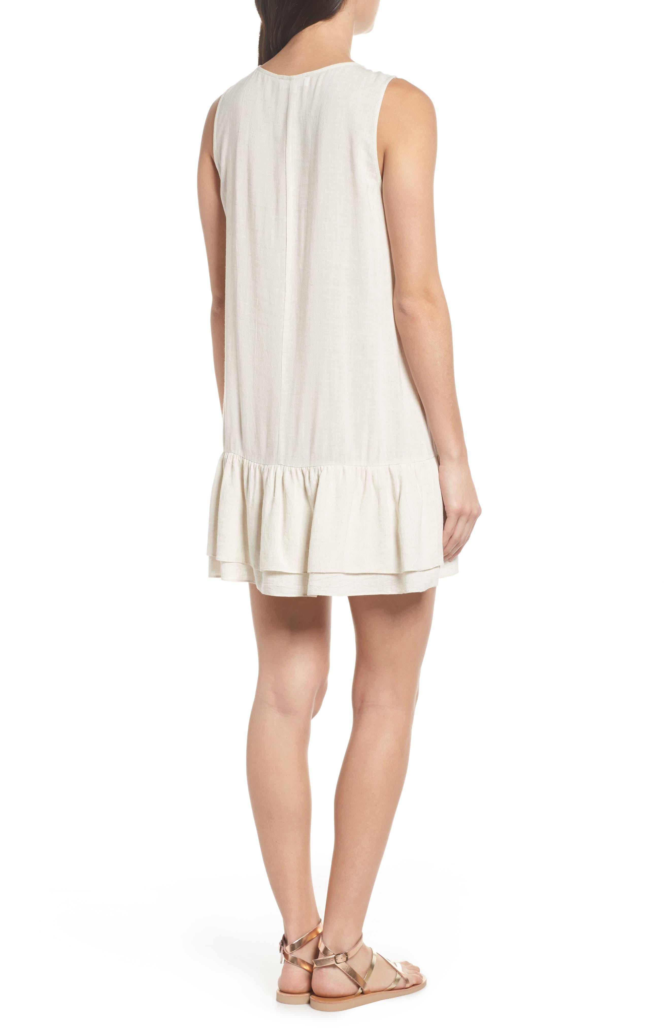 Embroidered Drop Waist Dress,                             Alternate thumbnail 2, color,                             Cream