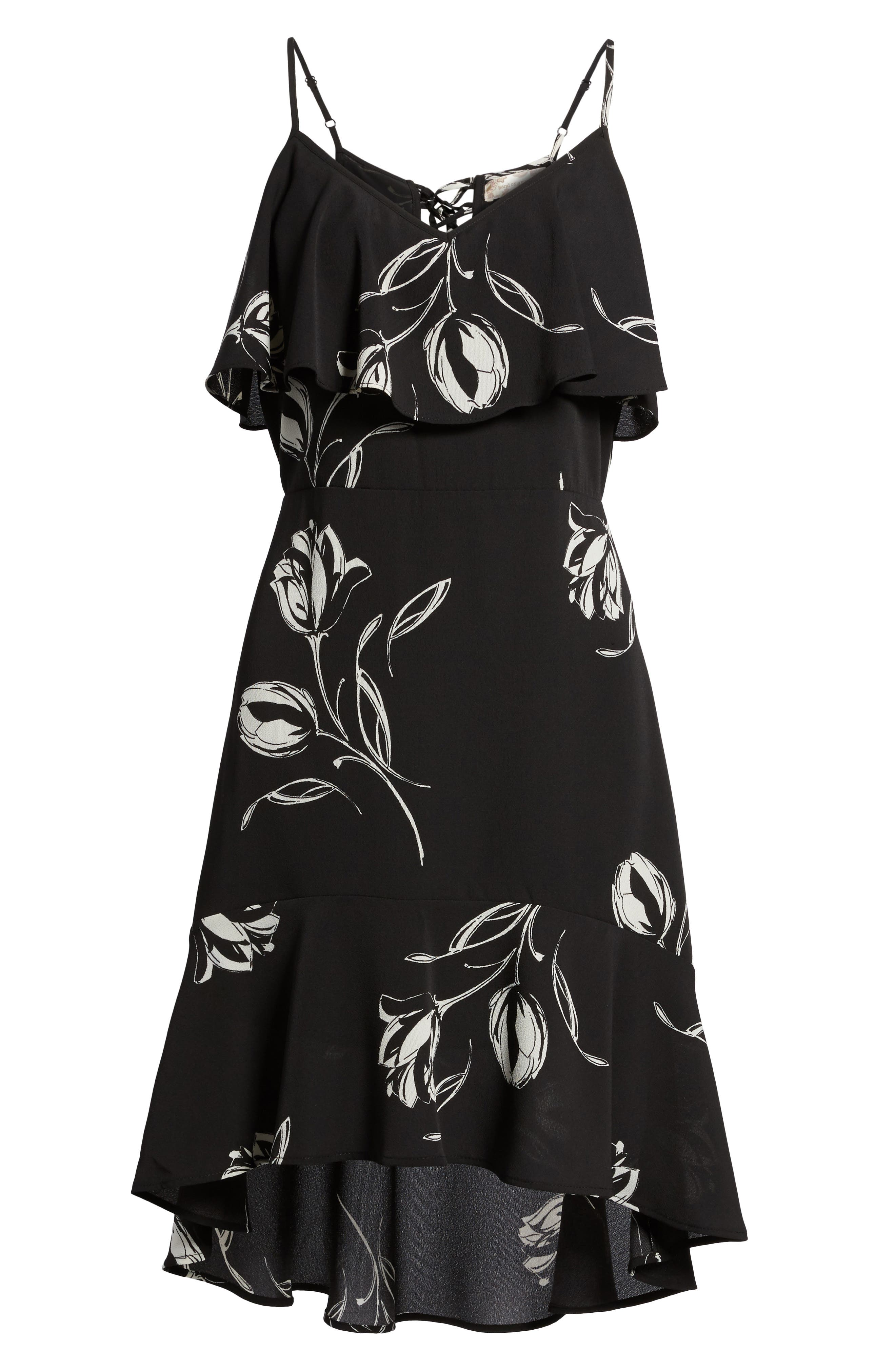 Ruffle Trim Tulip Print Dress,                             Alternate thumbnail 6, color,                             Black/ Ivory
