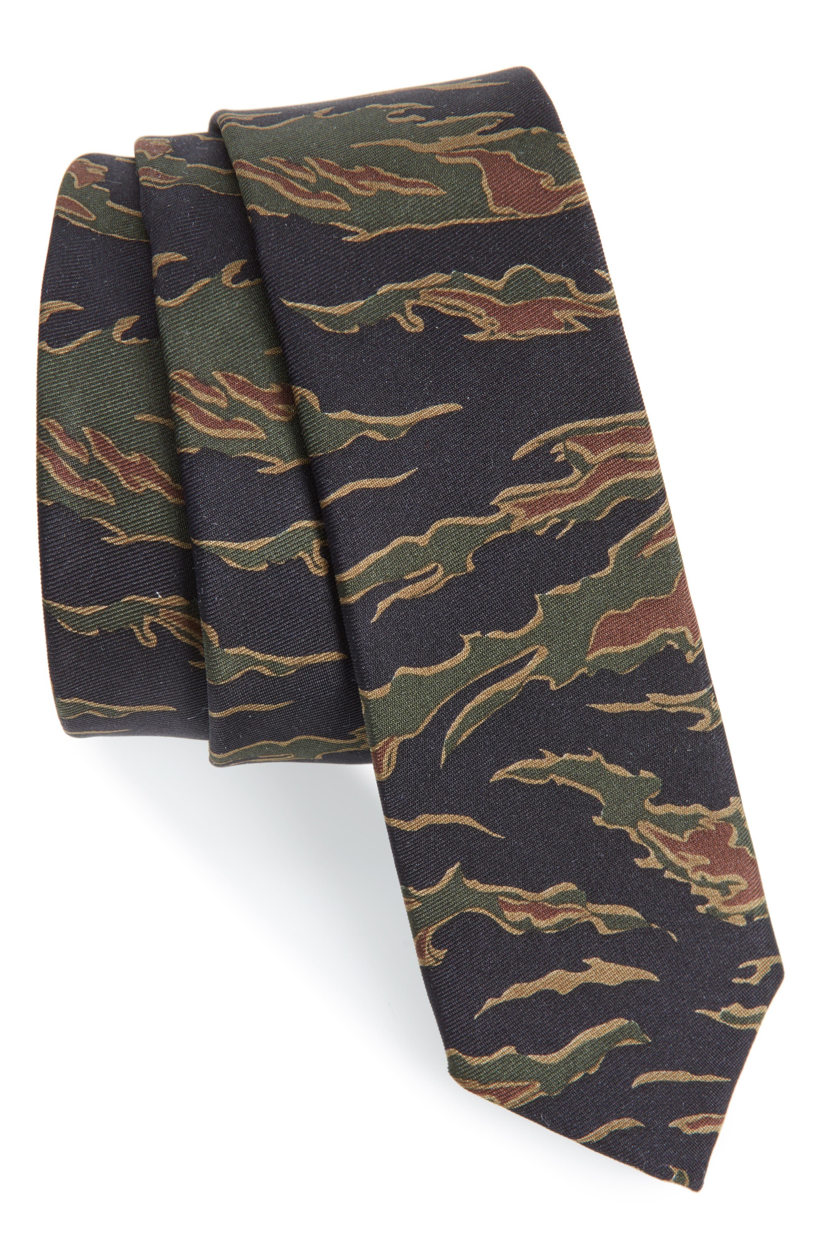 Camo Silk Skinny Tie,                         Main,                         color, Green