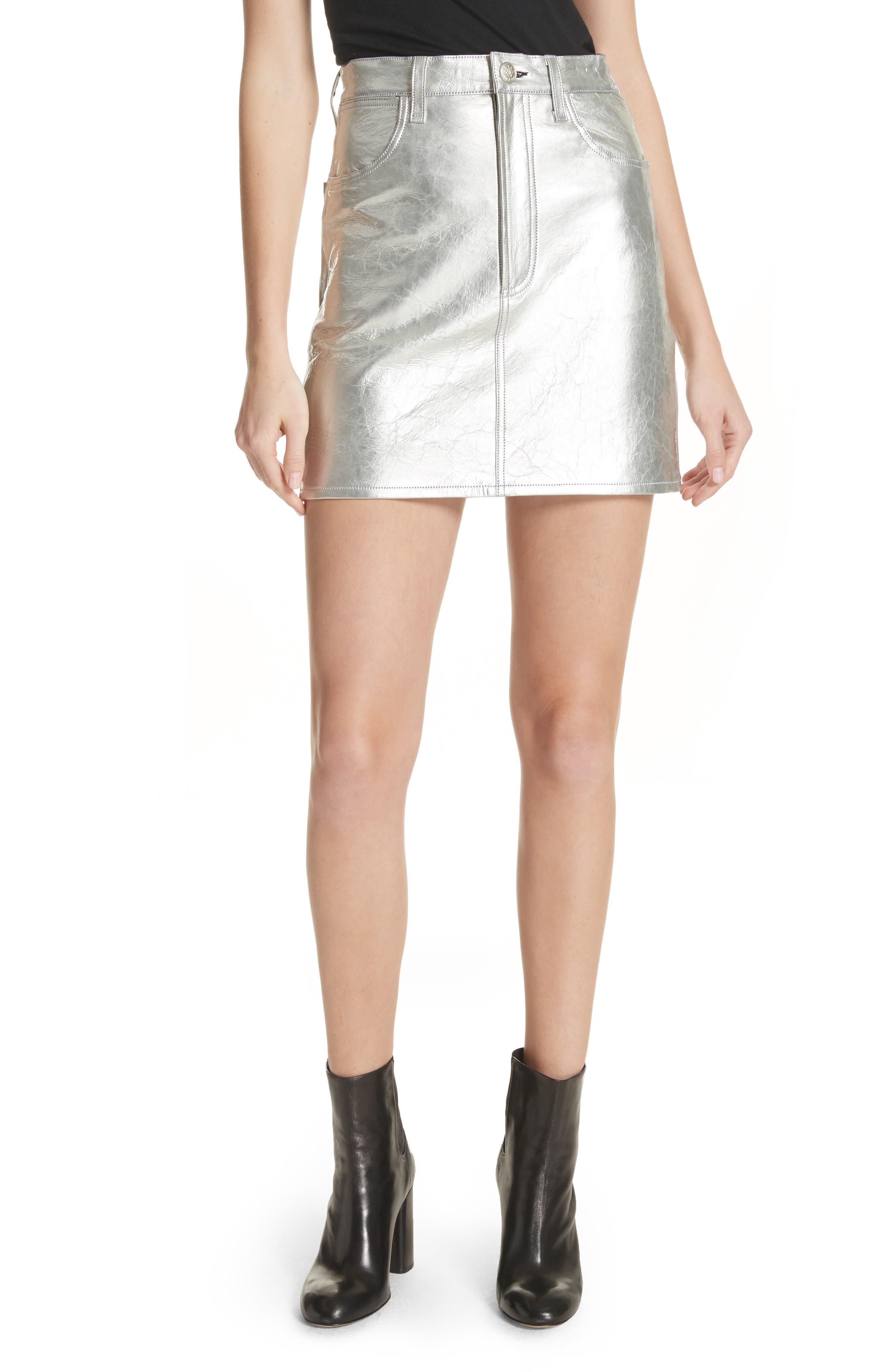 Moss High Waist Leather Miniskirt,                         Main,                         color, Metallic