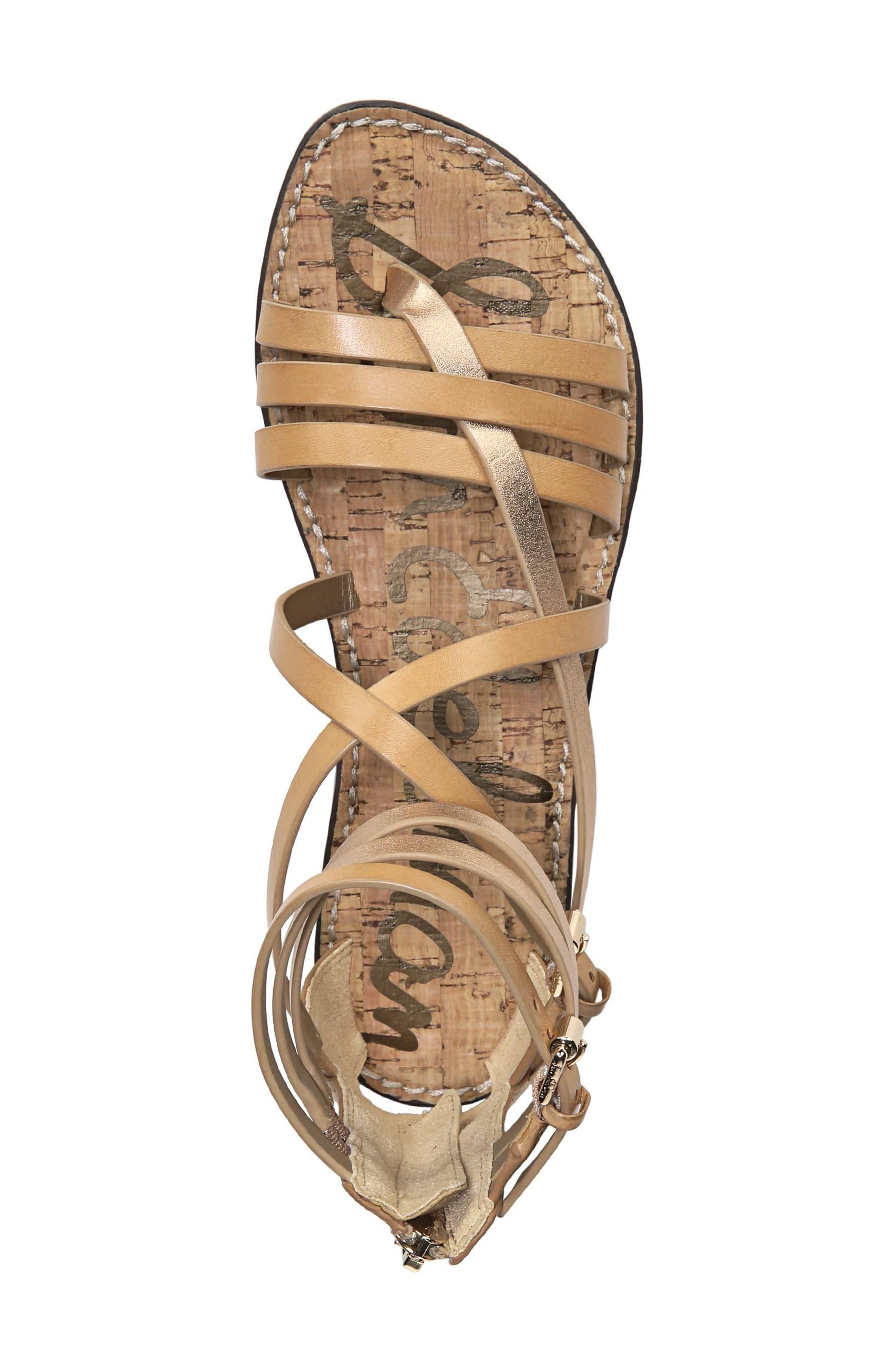 Ganesa Strappy Sandal,                             Alternate thumbnail 5, color,                             Golden Caramel Leather
