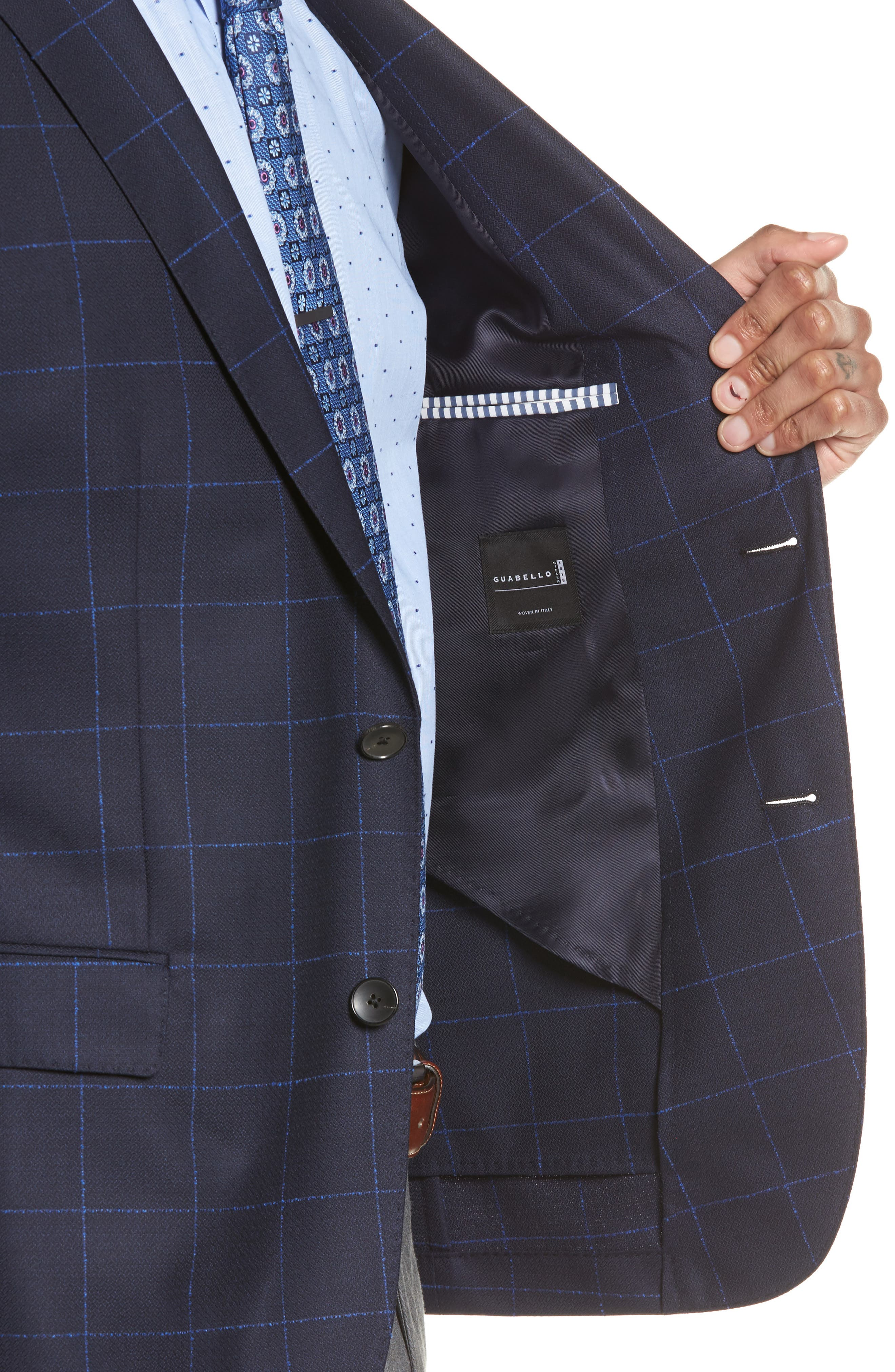 Nordstrom x BOSS Nobis Trim Fit Check Wool Sport Coat,                             Alternate thumbnail 4, color,                             Navy