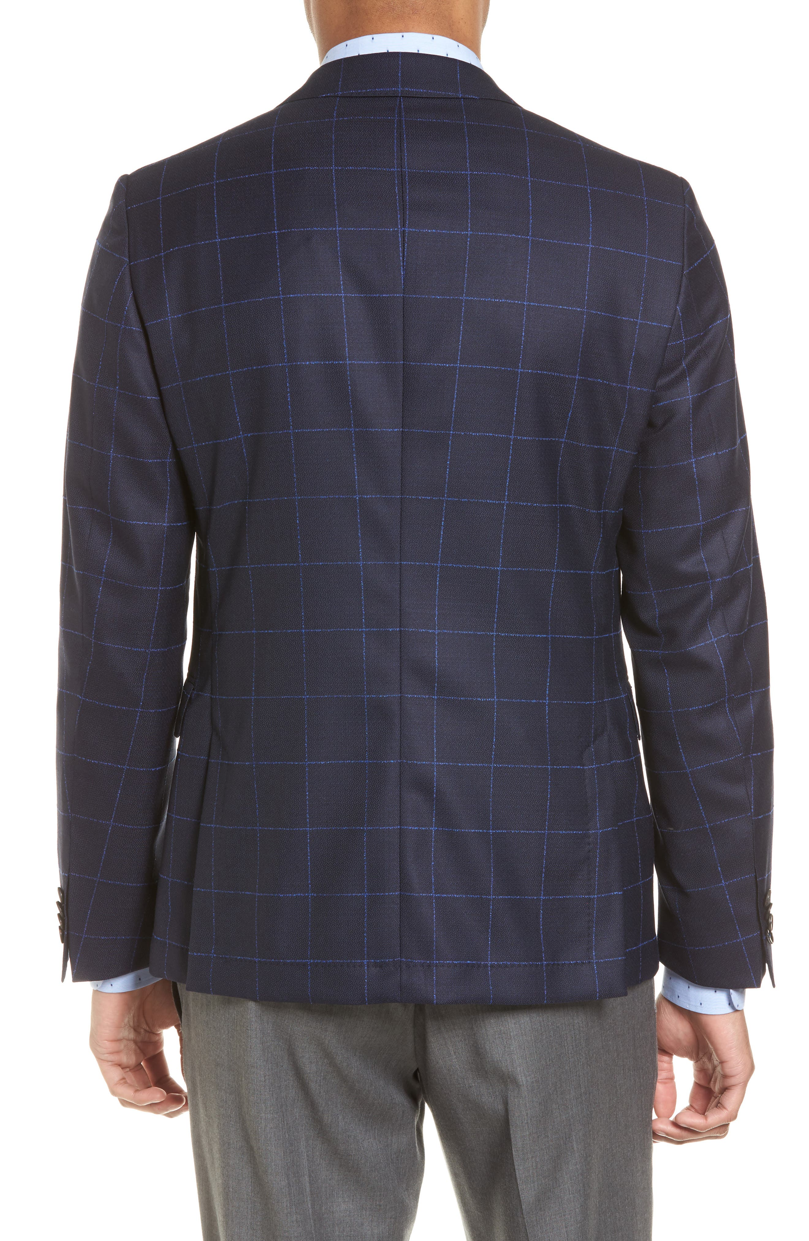 Nordstrom x BOSS Nobis Trim Fit Check Wool Sport Coat,                             Alternate thumbnail 2, color,                             Navy