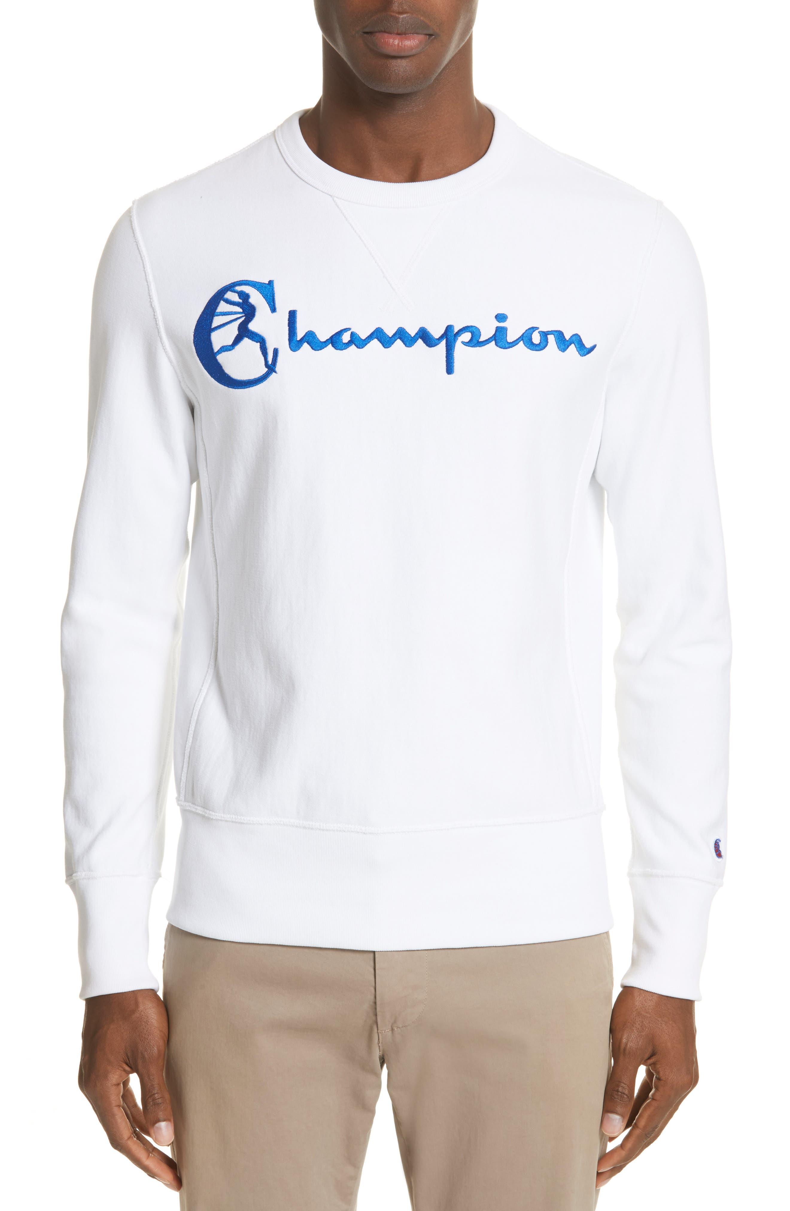 + Champion Crewneck Sweatshirt,                         Main,                         color, White