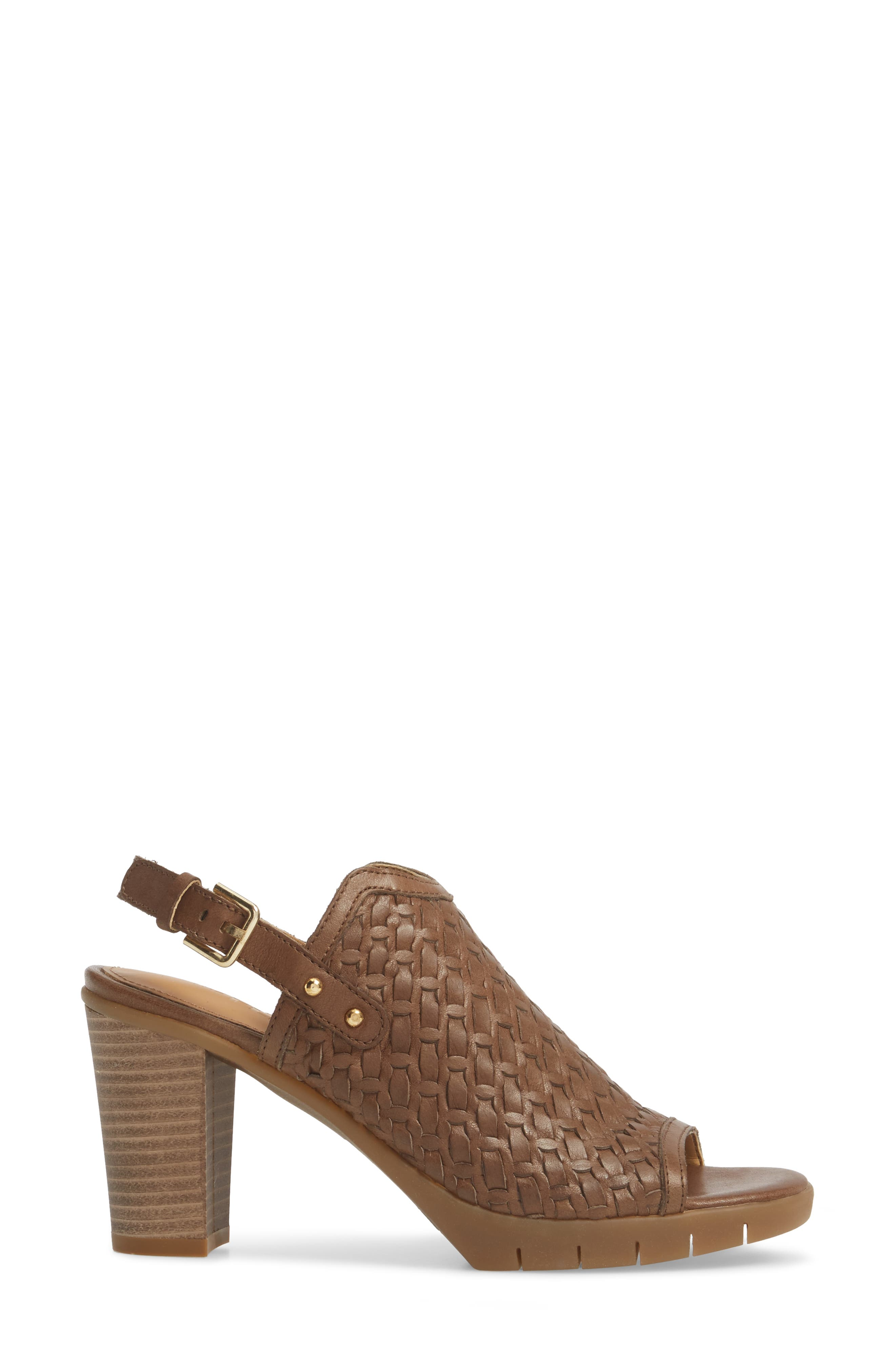 Weave Me Be Slingback Sandal,                             Alternate thumbnail 3, color,                             Chocolate Leather
