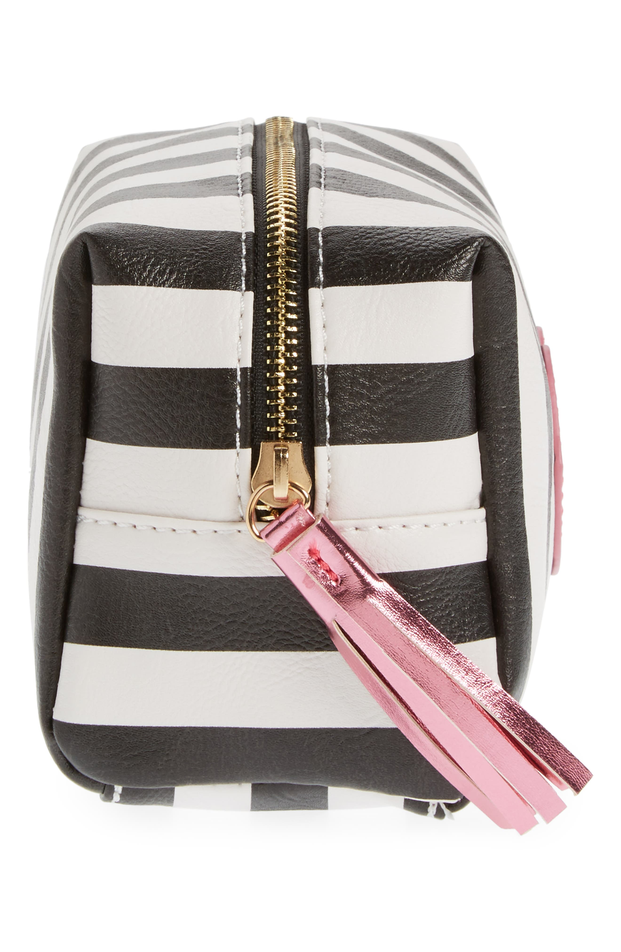 Metallic Lip Stripe Cosmetics Bag,                             Alternate thumbnail 4, color,                             Black/ White