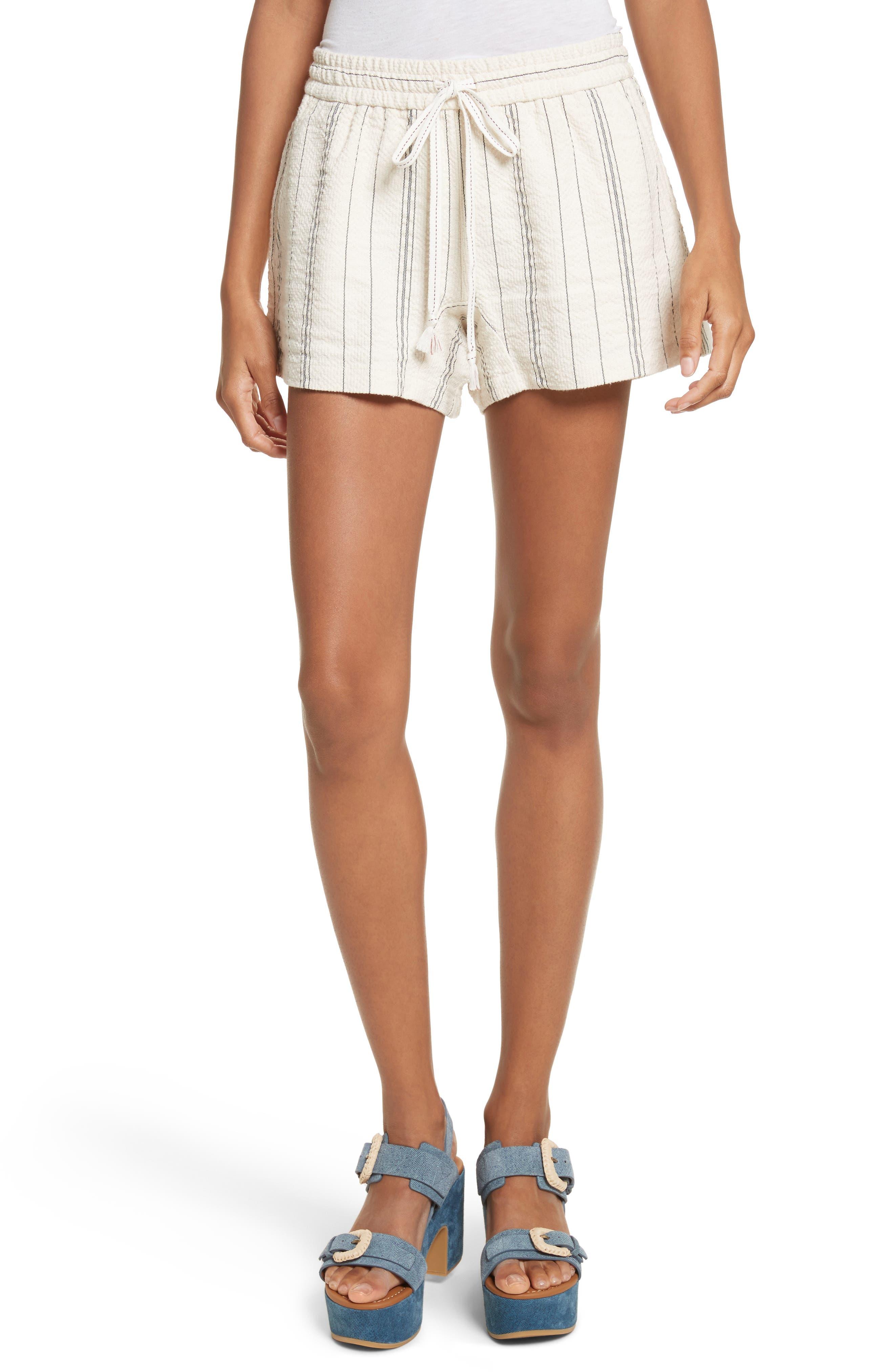 Stripe Shorts,                             Main thumbnail 1, color,                             White/ Black