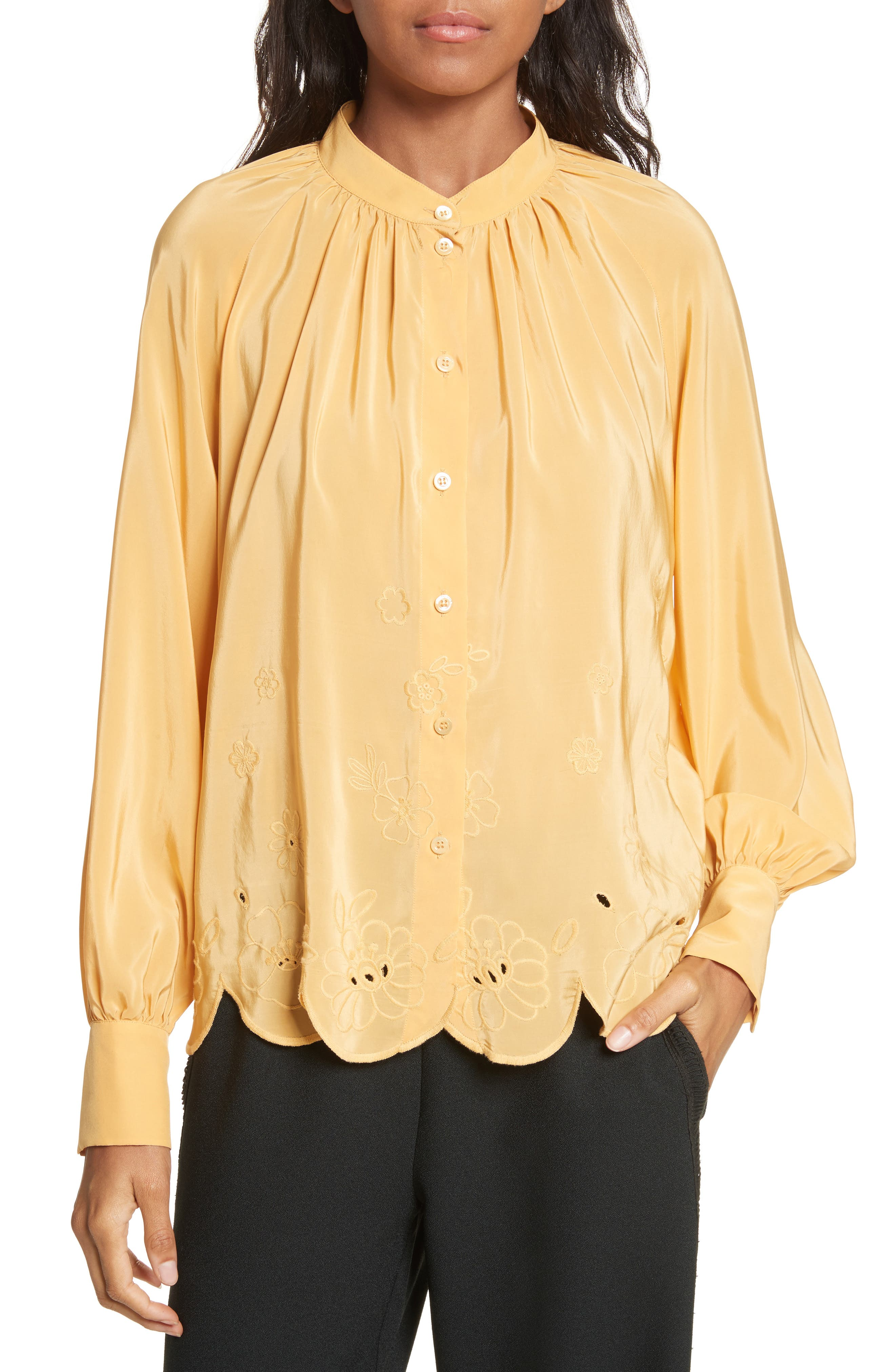 Embroidered Scallop Hem Shirt,                             Main thumbnail 1, color,                             Ochre