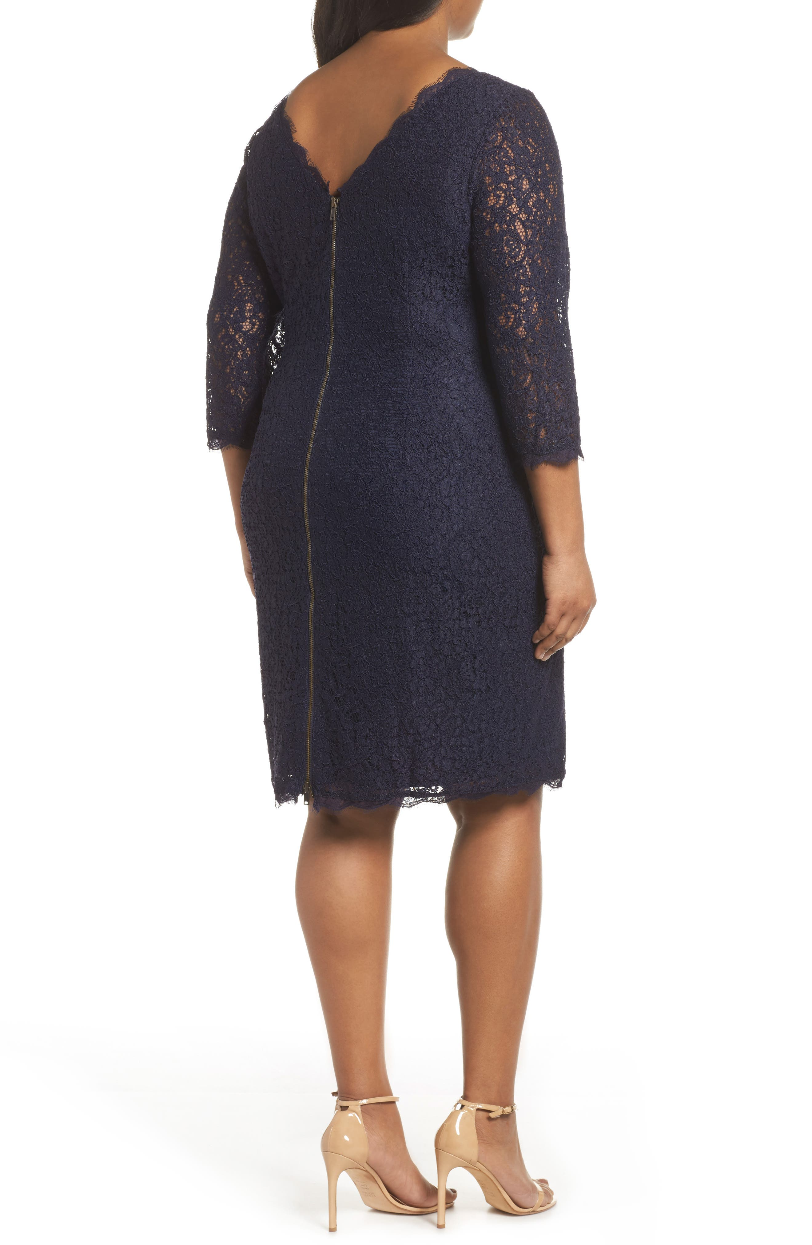 Lace Overlay Sheath Dress,                             Alternate thumbnail 3, color,                             Navy